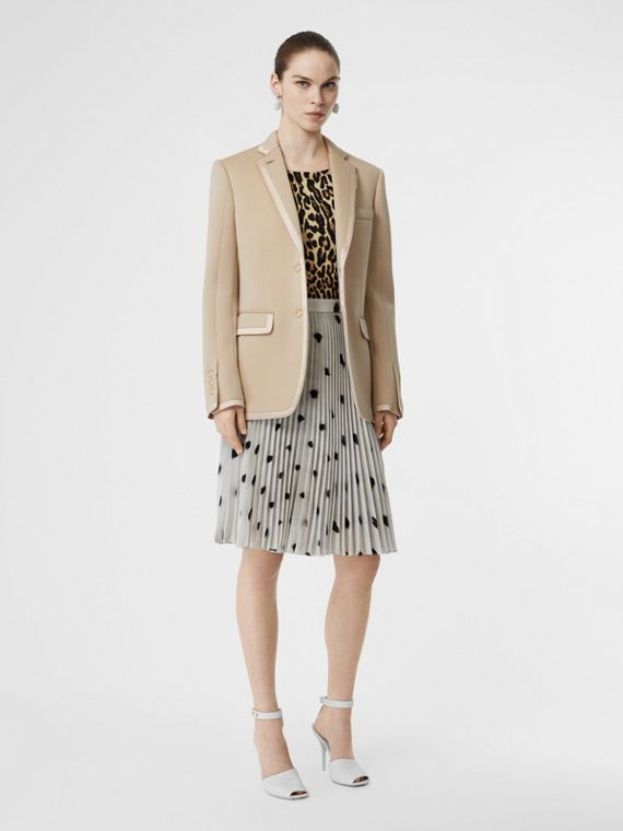 Silk Trim Neoprene Blazer in Teddy Beige