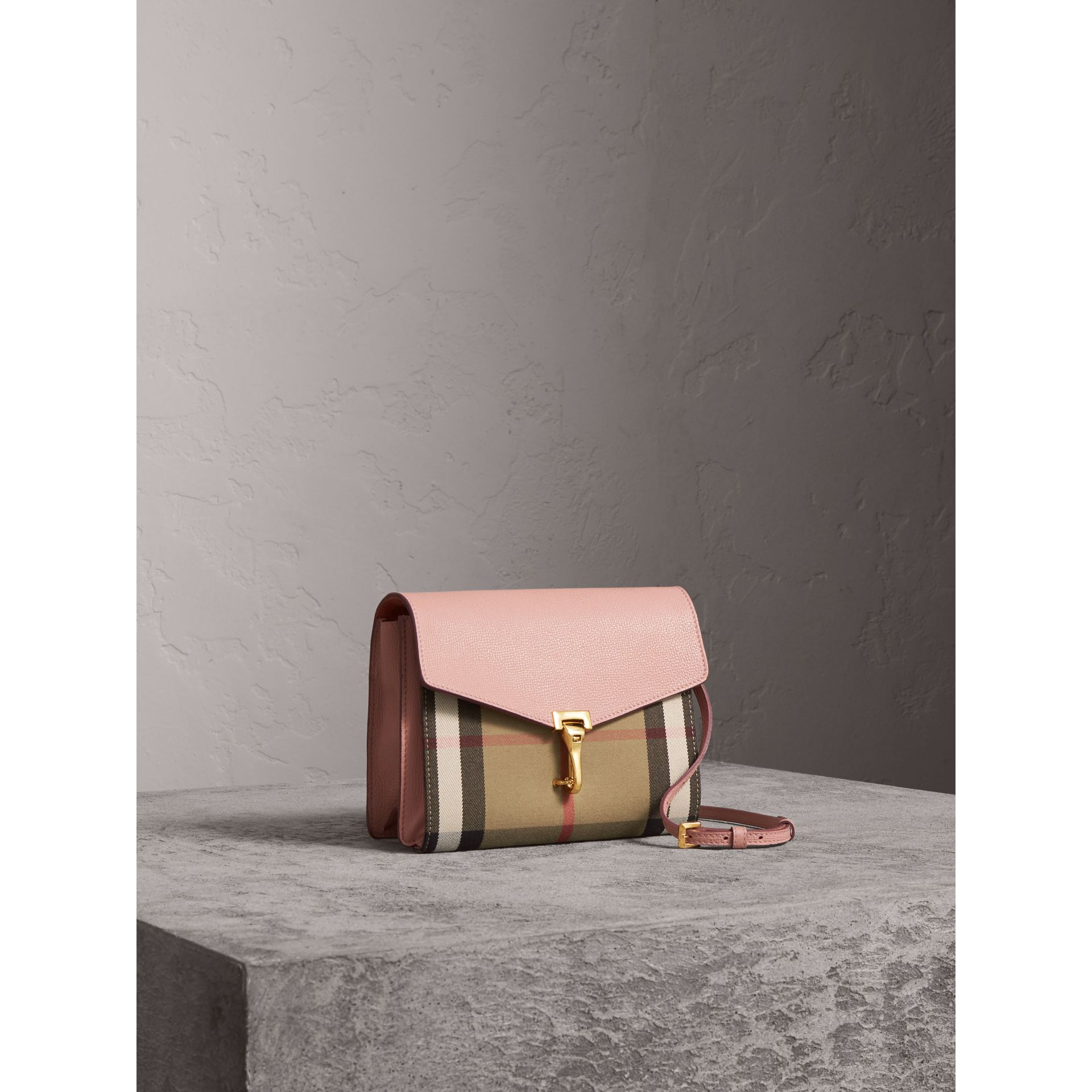 Small Leather and House Check Crossbody Bag in Pale Orchid - Women | Burberry - gallery image 8
