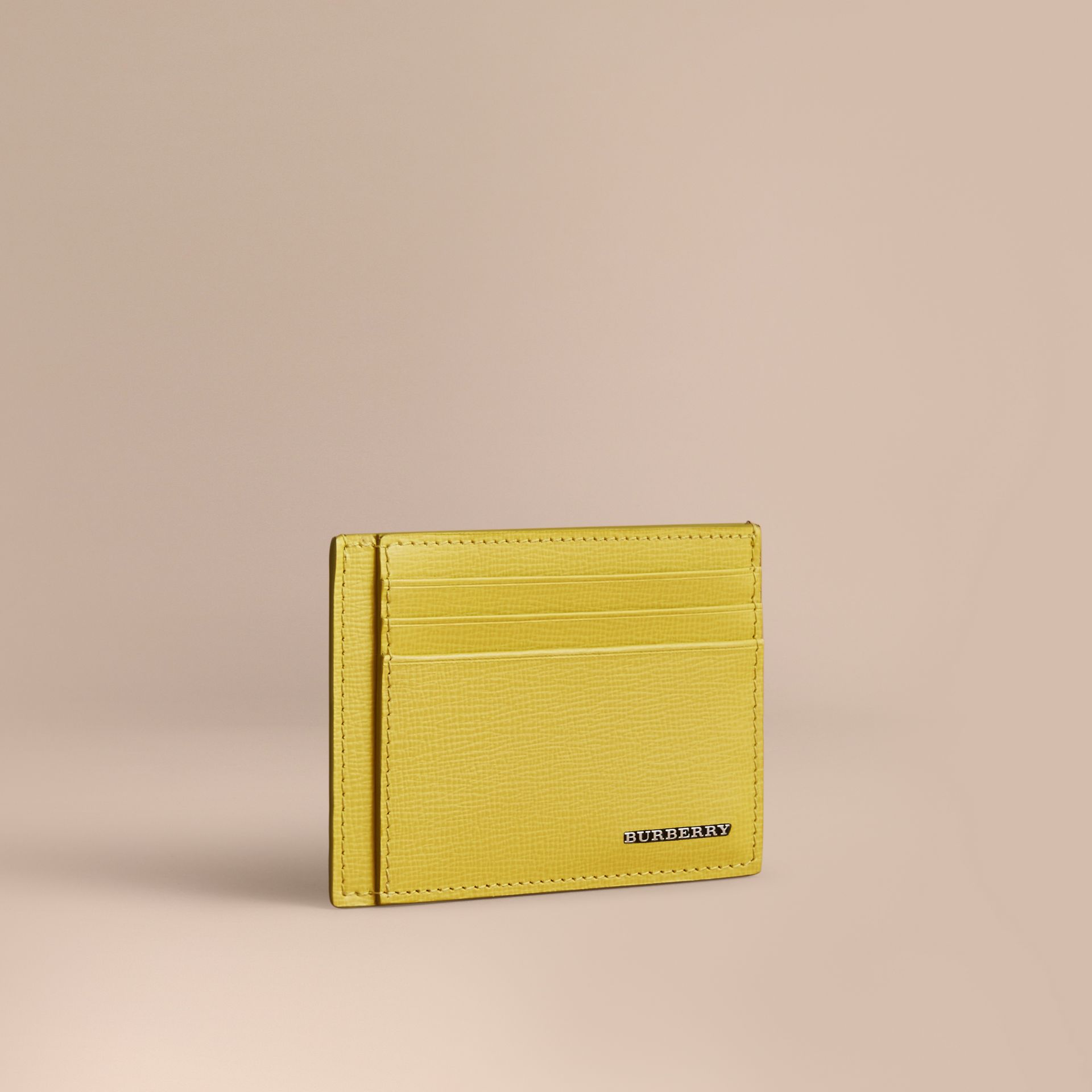 London Leather Card Case in Bright Citrus | Burberry Australia - gallery image 1