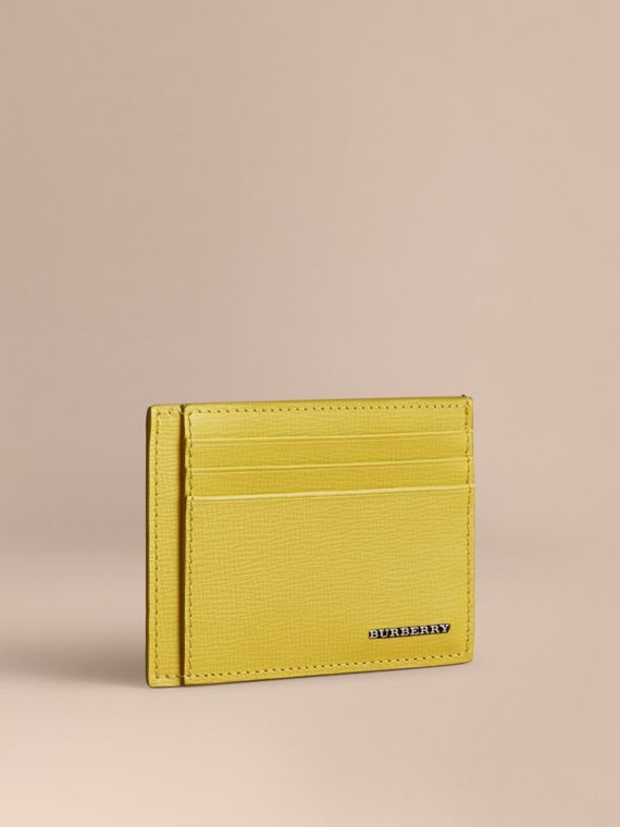 London Leather Card Case in Bright Citrus