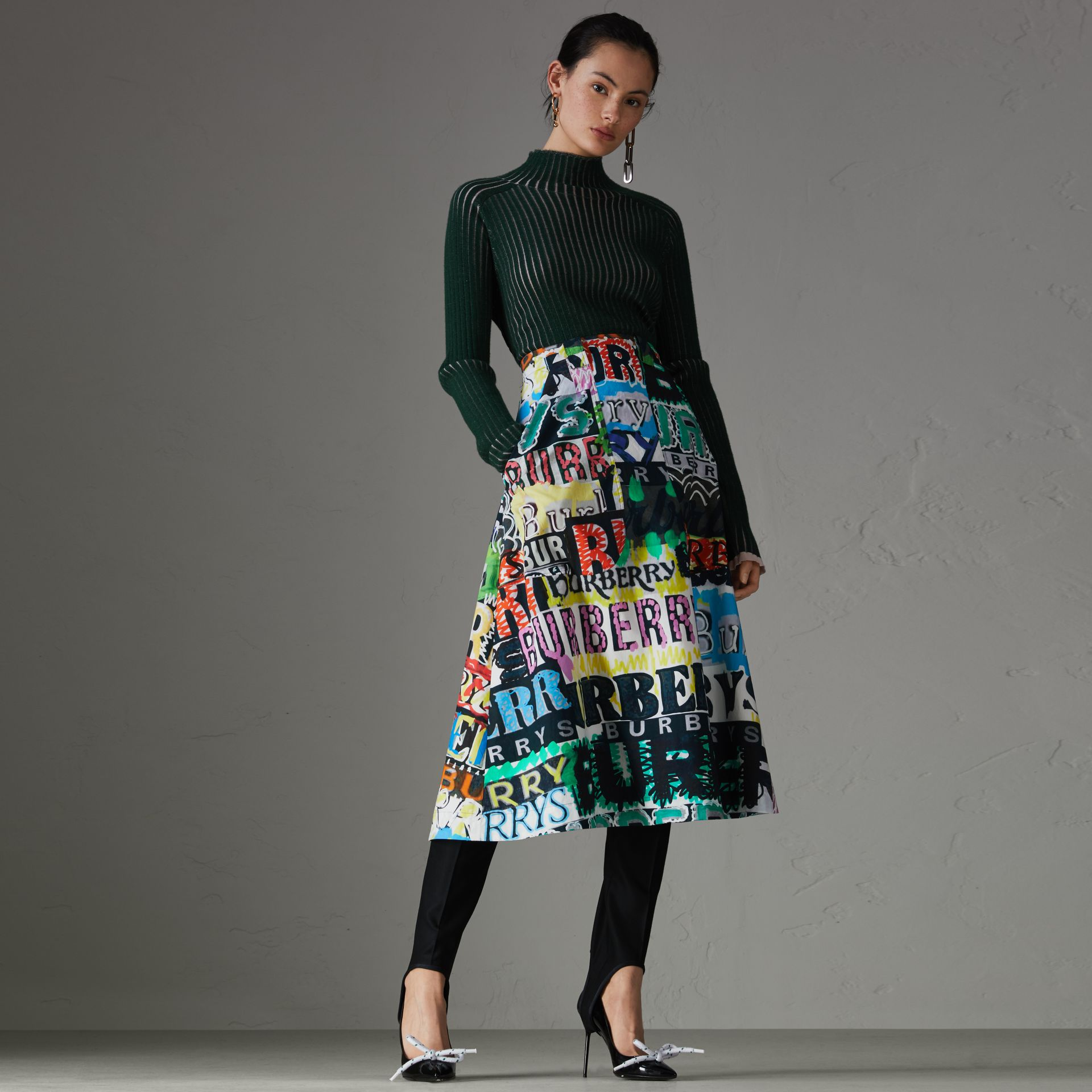 Logo Print Cotton A-line Skirt in Multicolour | Burberry - gallery image 0