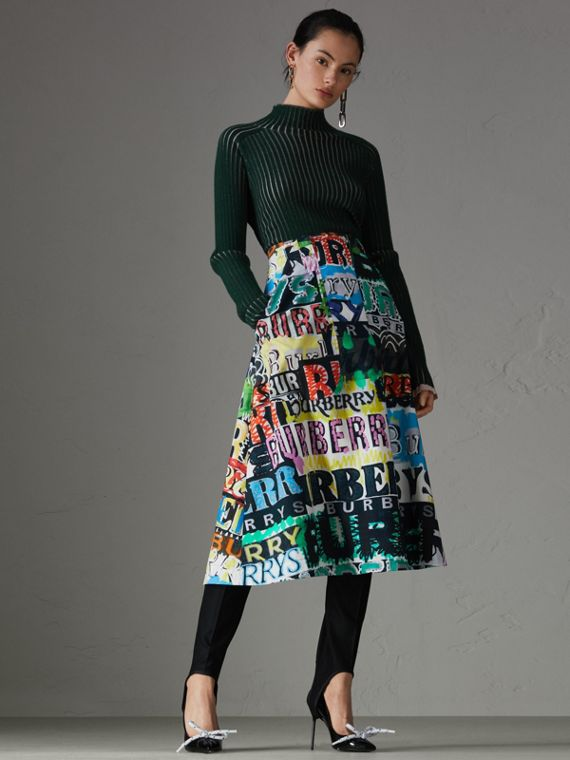 Logo Print Cotton A-line Skirt in Multicolour