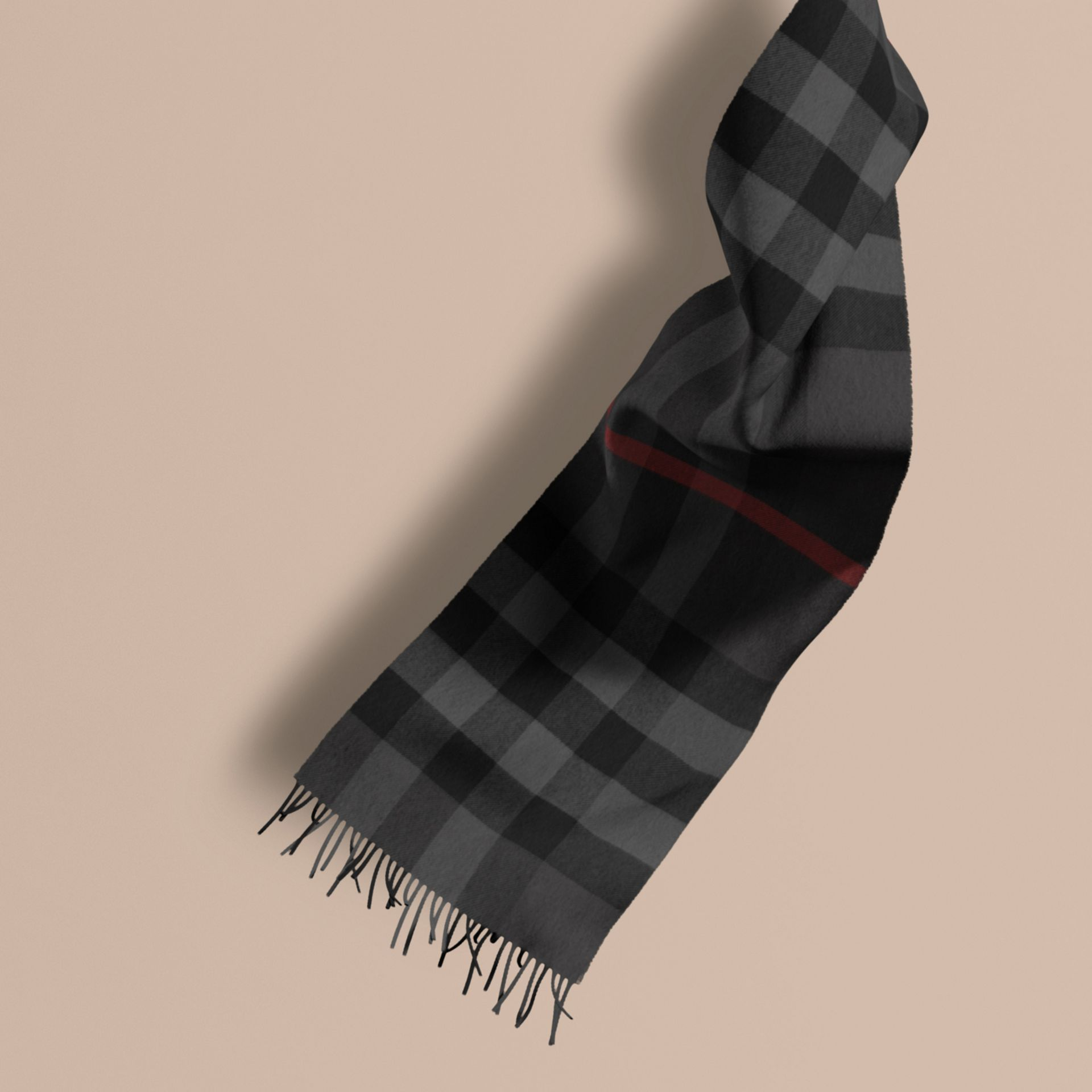 Charcoal check The Large Classic Cashmere Scarf in Check Charcoal - gallery image 1