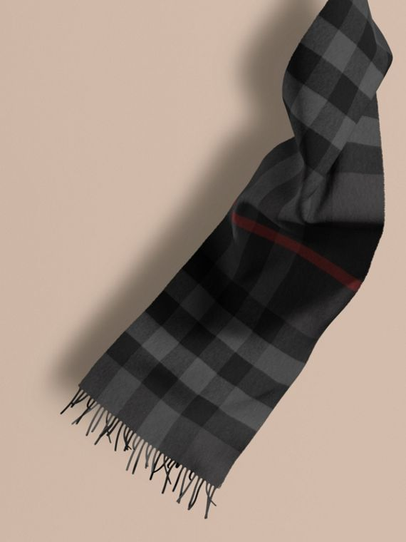 The Large Classic Cashmere Scarf in Check in Charcoal | Burberry
