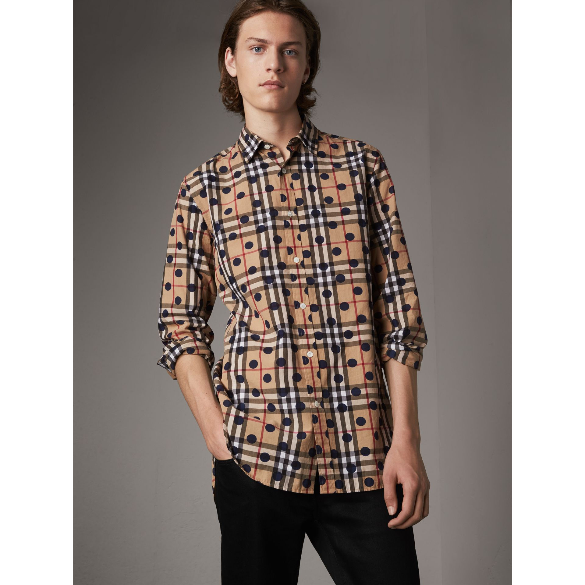 Spot Print Check Cotton Shirt in Navy - Men | Burberry - gallery image 1