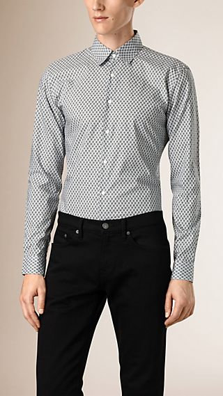 Slim Fit Graphic Print Cotton Shirt