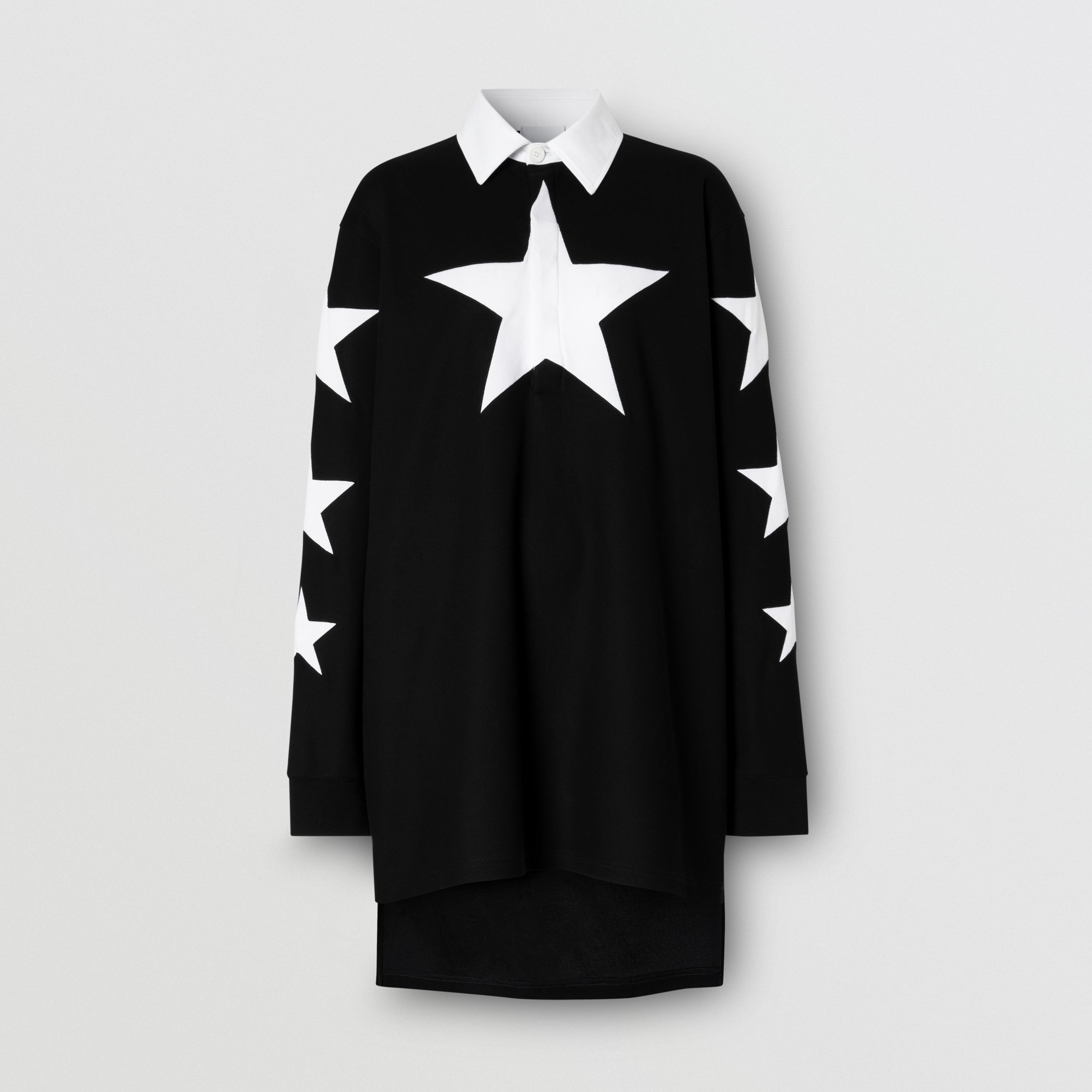 Long-sleeve Star Motif Cotton Piqué Polo Shirt Dress in Black - Women | Burberry - 4