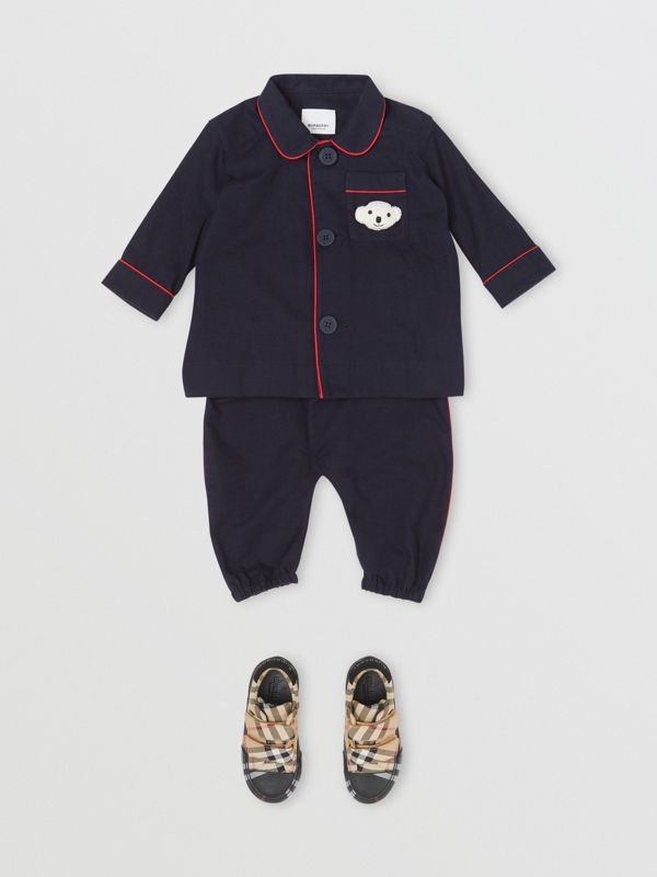 Cotton Flannel Pyjama Trousers in Navy - Children | Burberry United States - cell image 2