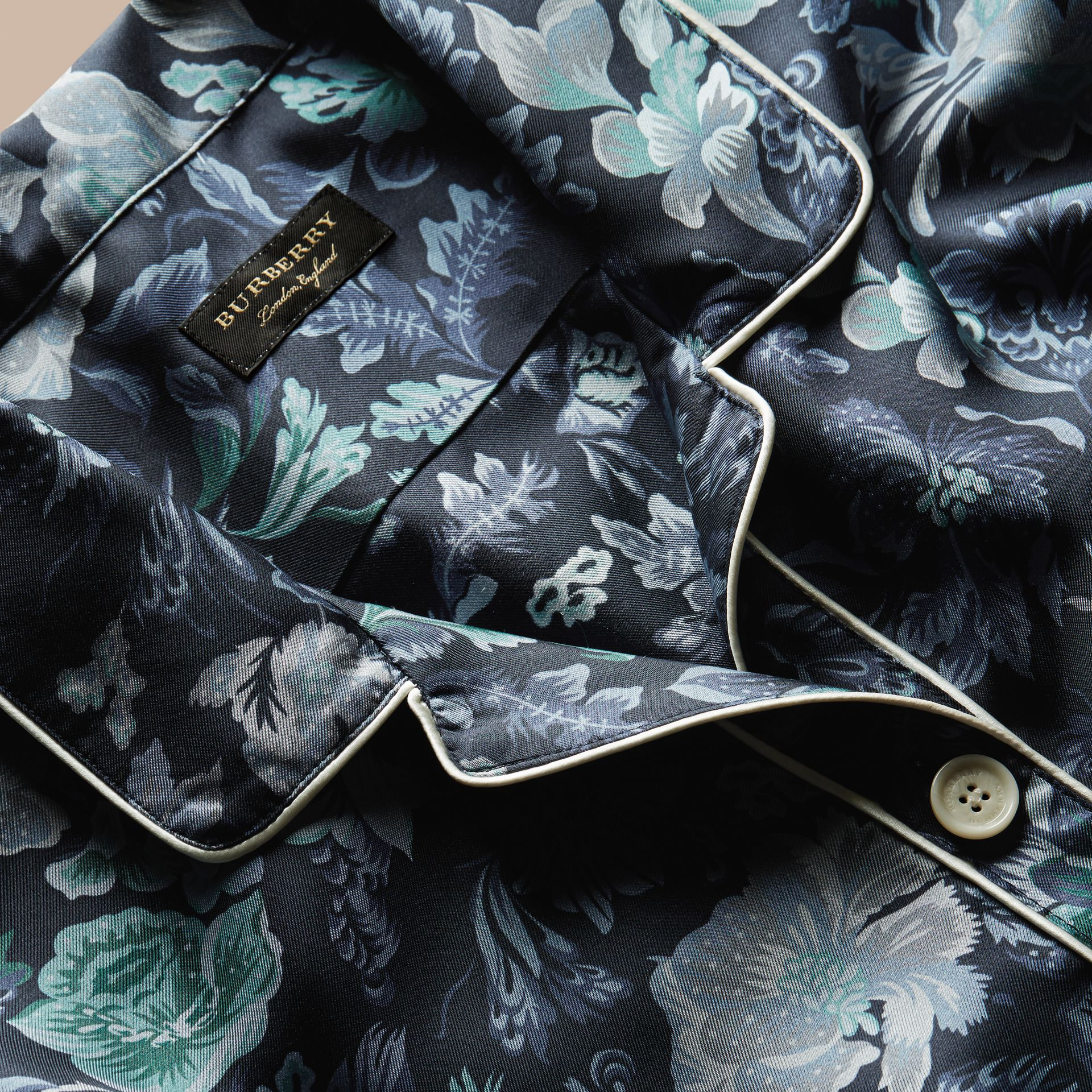 Navy Short-sleeved Floral Print Silk Pyjama-style Shirt Navy - gallery image 2