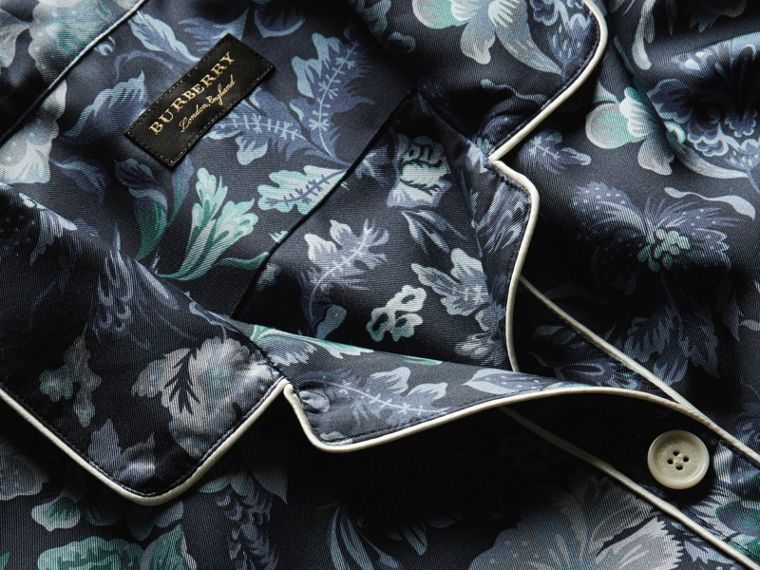 Navy Short-sleeved Floral Print Silk Pyjama-style Shirt Navy - cell image 1