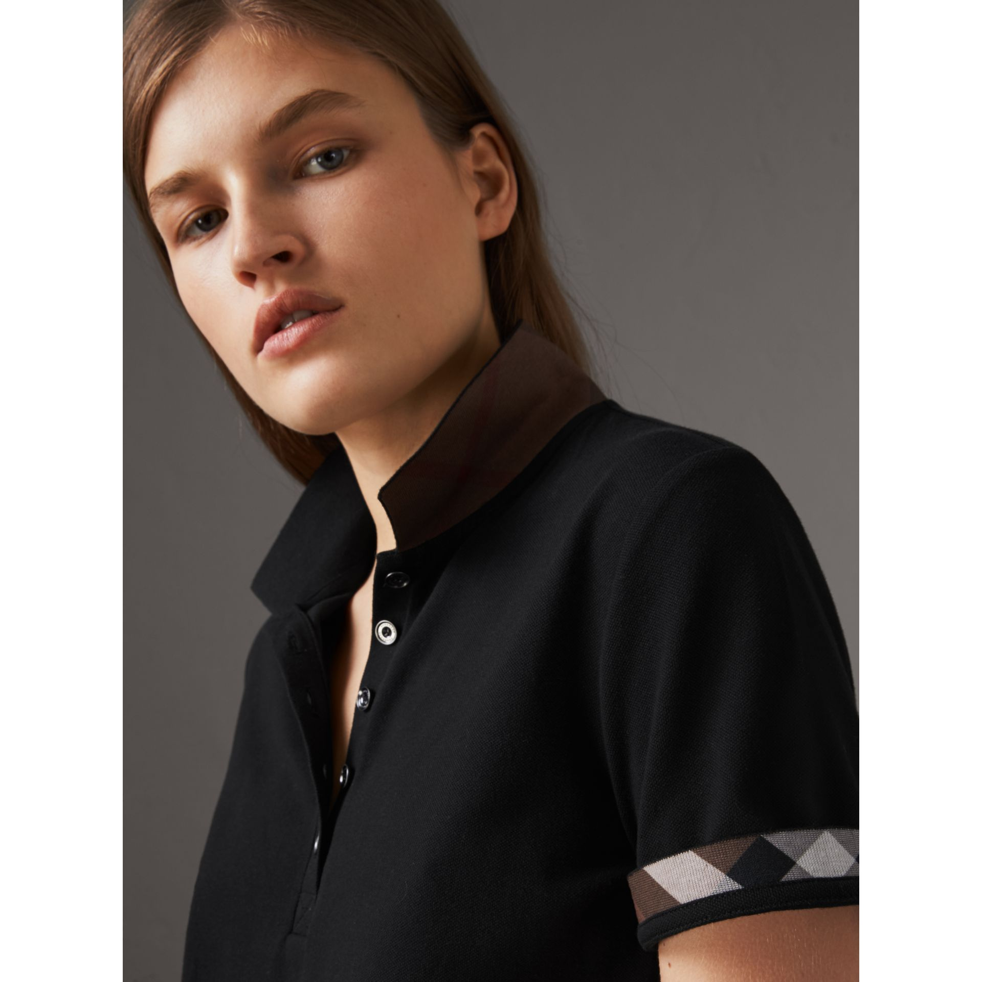 Check Trim Stretch Cotton Piqué Polo Shirt in Black - Women | Burberry United States - gallery image 1