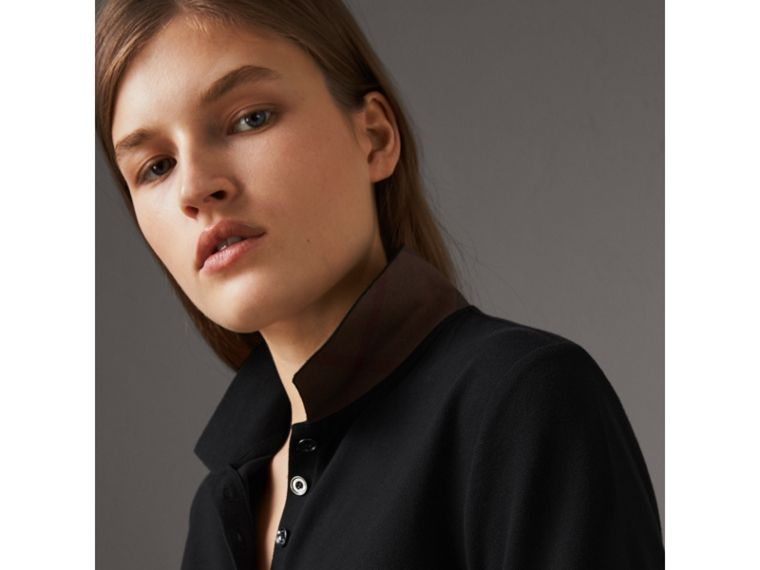 Check Trim Stretch Cotton Piqué Polo Shirt in Black - Women | Burberry - cell image 1