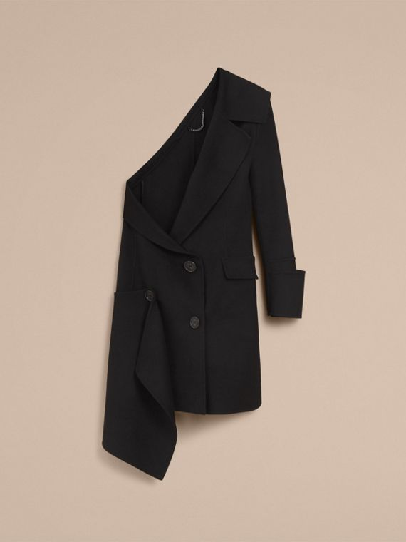 One-shoulder Lightweight Wool Cashmere Coat in Black - Women | Burberry - cell image 3