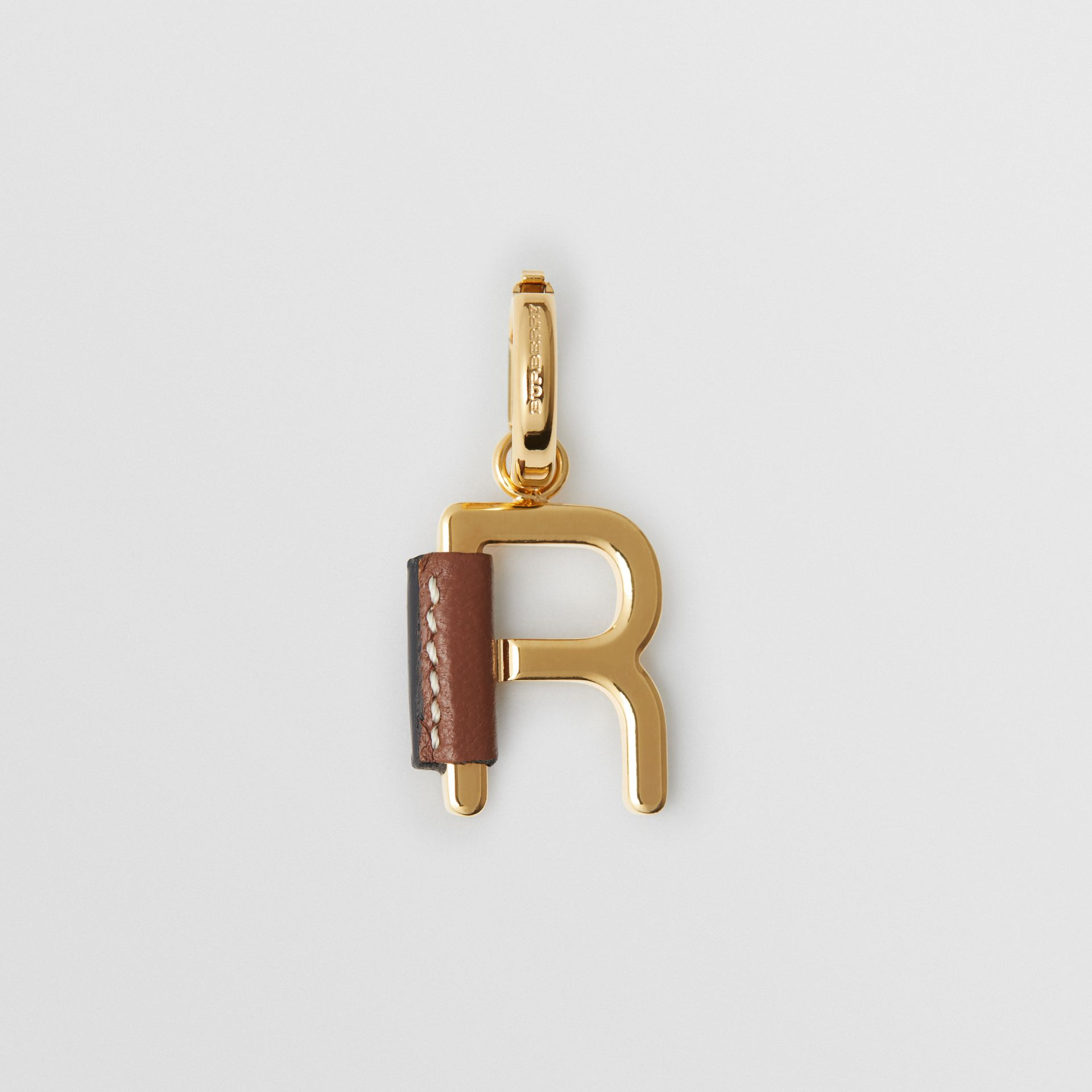 Leather-wrapped 'R' Alphabet Charm in Light Gold/tan - Women | Burberry - gallery image 0