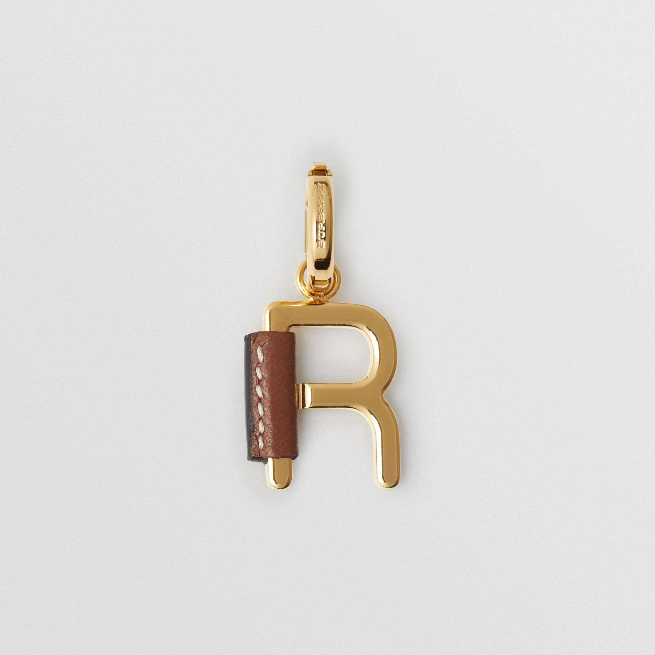 Leather-wrapped 'R' Alphabet Charm in Light Gold/tan - Women | Burberry - 1