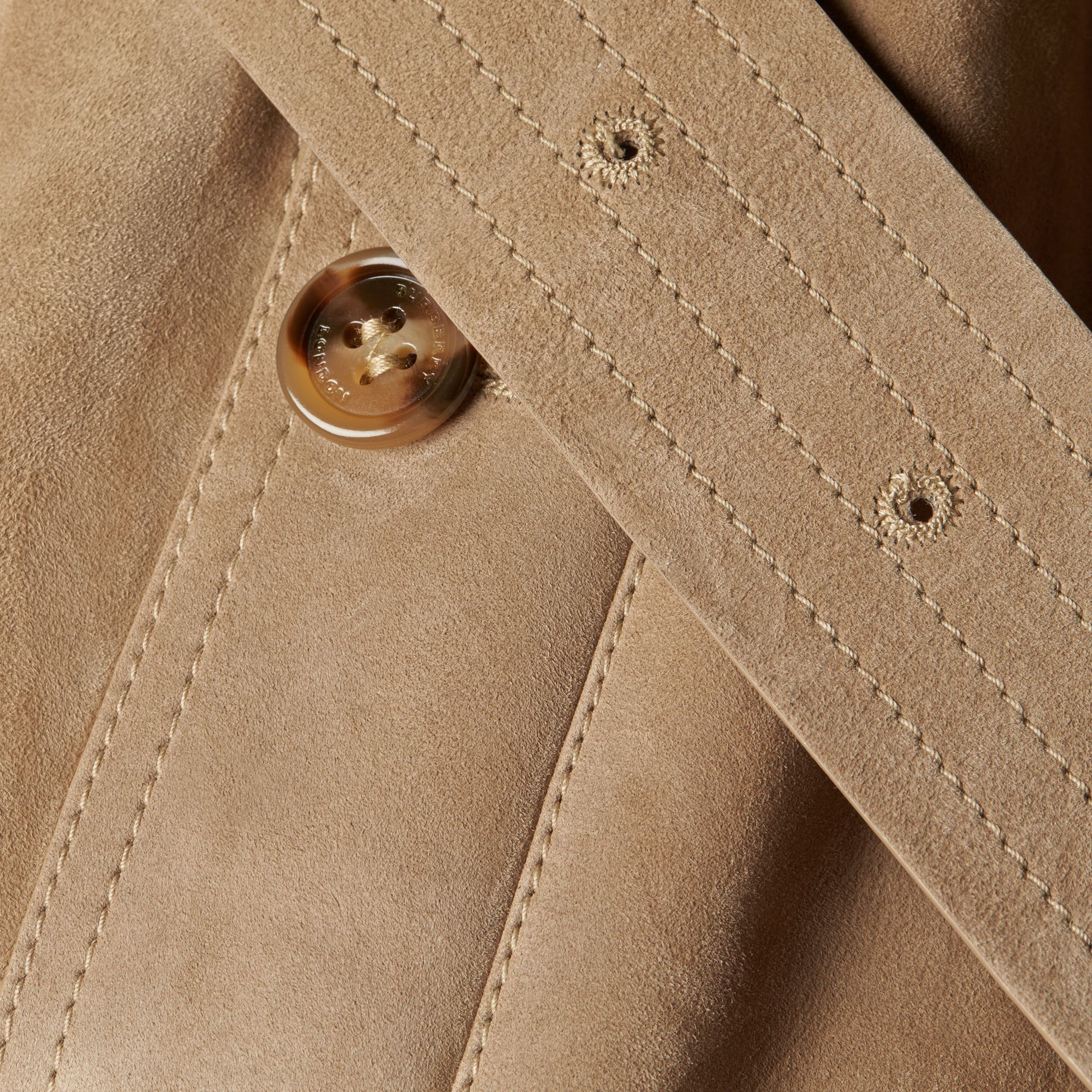 Shearling Trench Coat Camel - gallery image 2