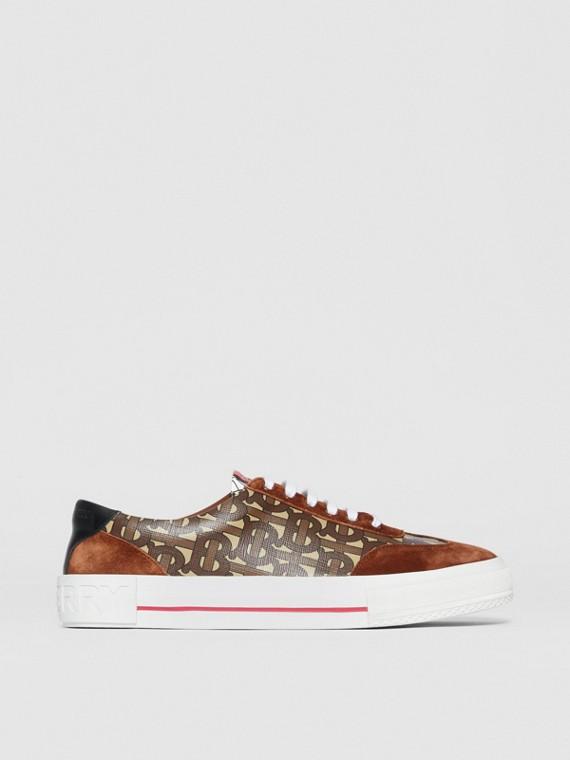 Sneaker con stampa monogramma a righe e dettagli in pelle scamosciata (Marrone Redini)
