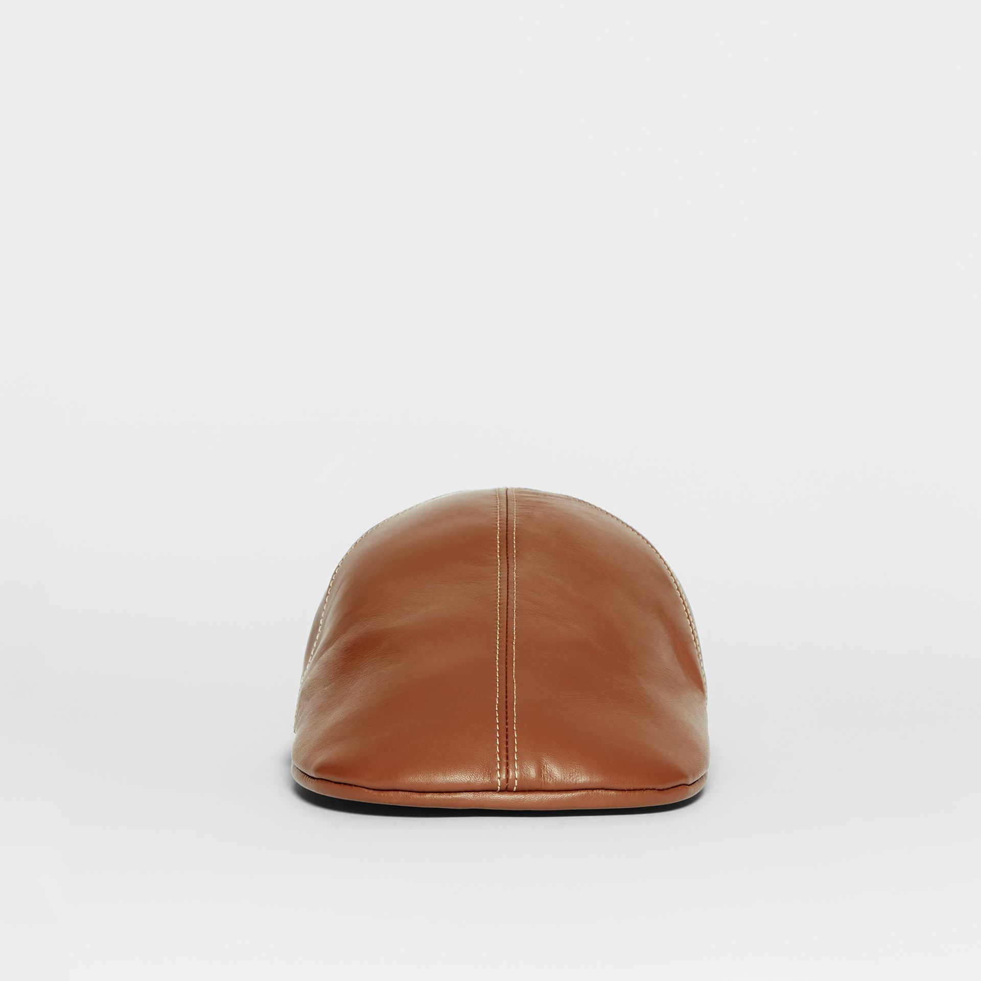 Lambskin Flat Cap in Tan | Burberry United Kingdom - gallery image 3