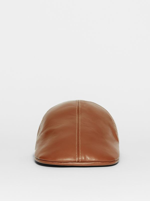 Lambskin Flat Cap in Tan | Burberry United Kingdom - cell image 3
