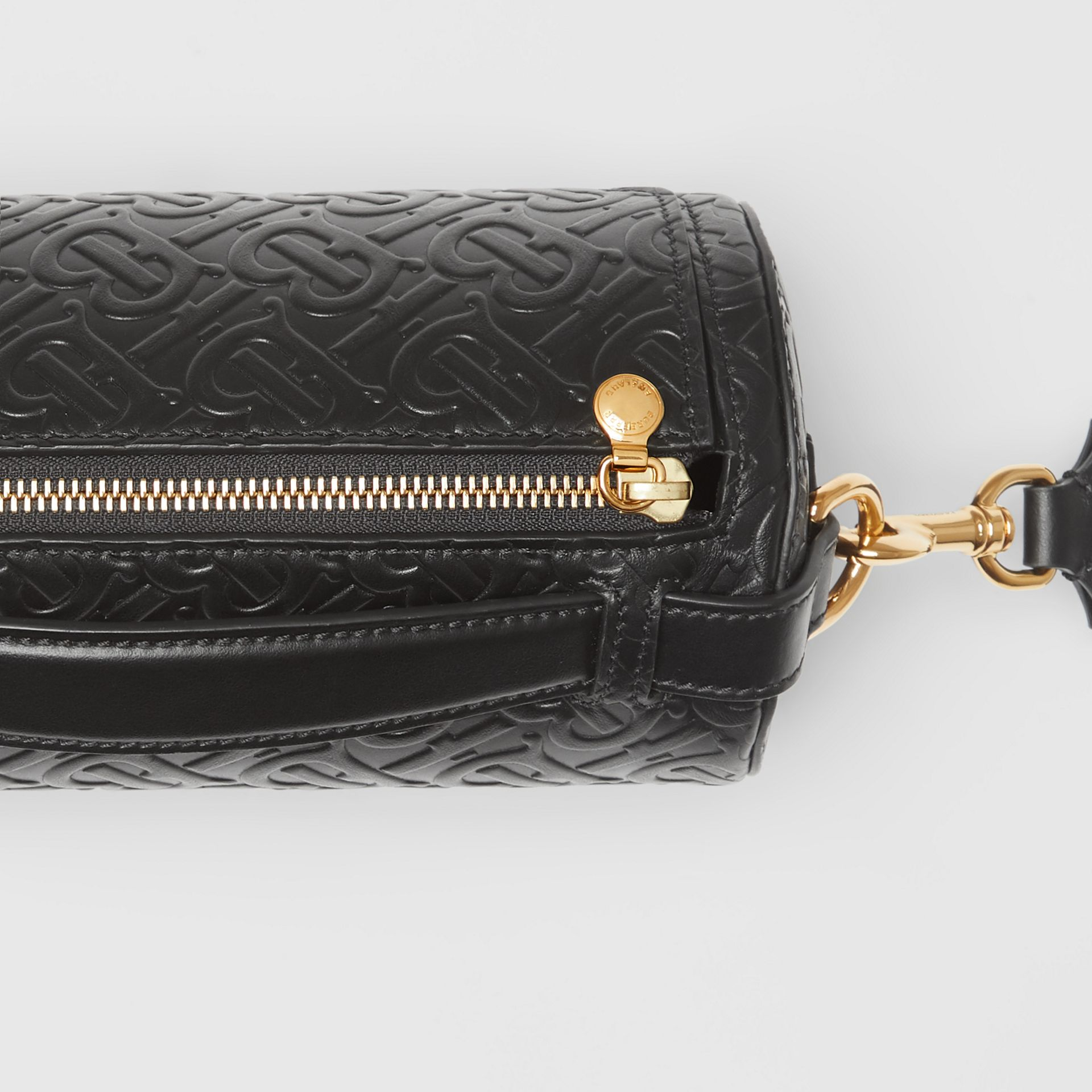 The Monogram Leather Barrel Bag in Black - Women | Burberry Australia - gallery image 1