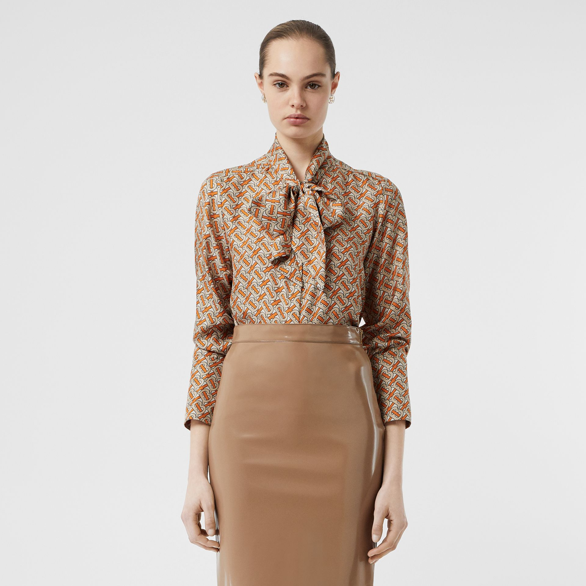 Monogram Print Silk Pussy-bow Blouse in Bright Orange - Women | Burberry Singapore - gallery image 5