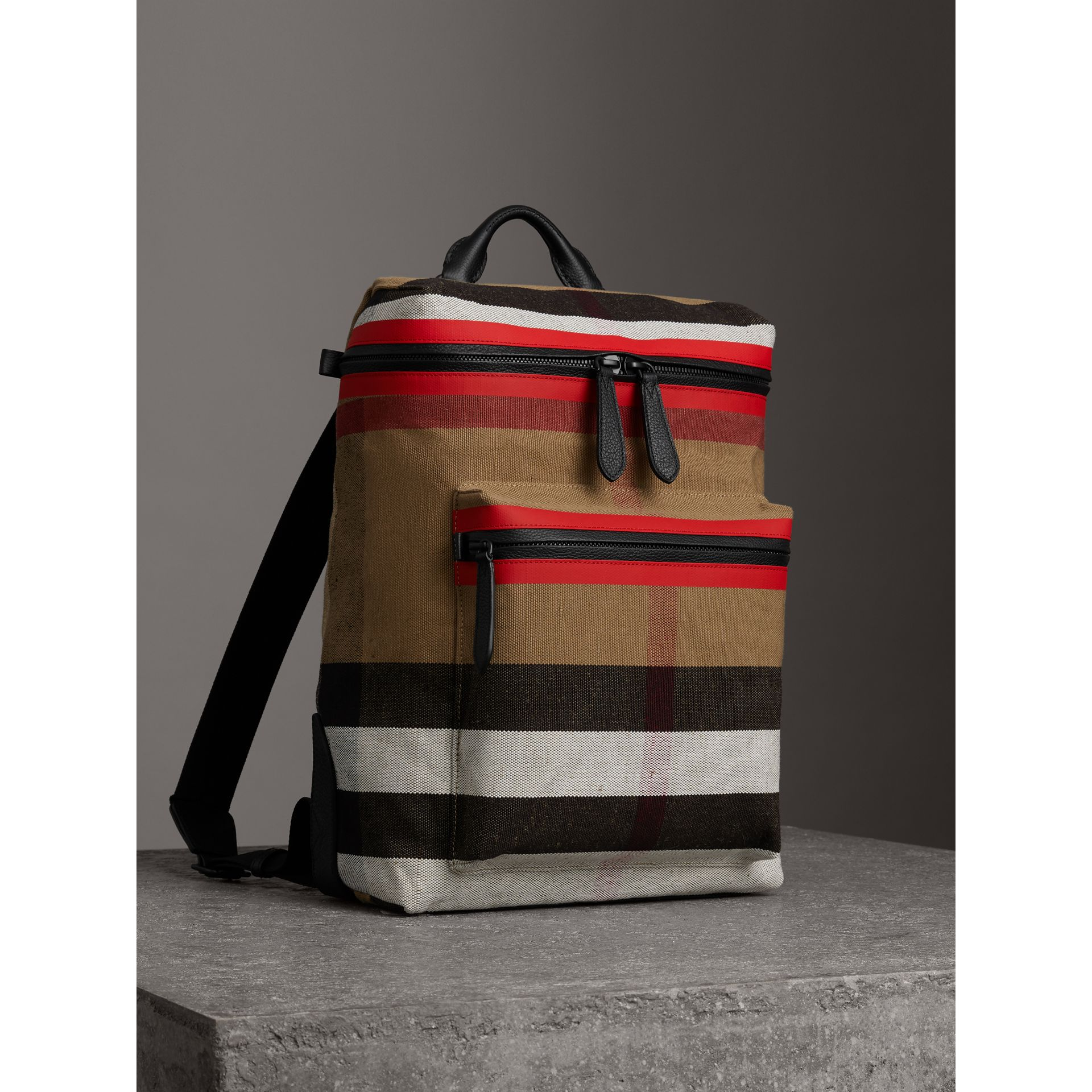 Zip-top Leather Trim Canvas Check Backpack in Military Red/camel - Men | Burberry - gallery image 4