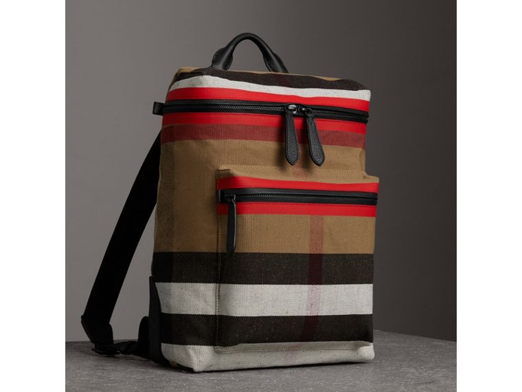 Zip-top Leather Trim Canvas Check Backpack in Military Red/camel - Men | Burberry - cell image 4
