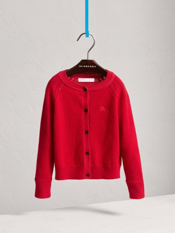 Check Detail Cashmere Cardigan in Parade Red - Girl | Burberry United Kingdom - cell image 2