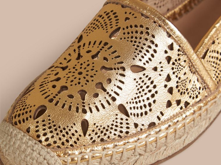 Gold satin Laser-cut Lambskin Espadrilles - cell image 1