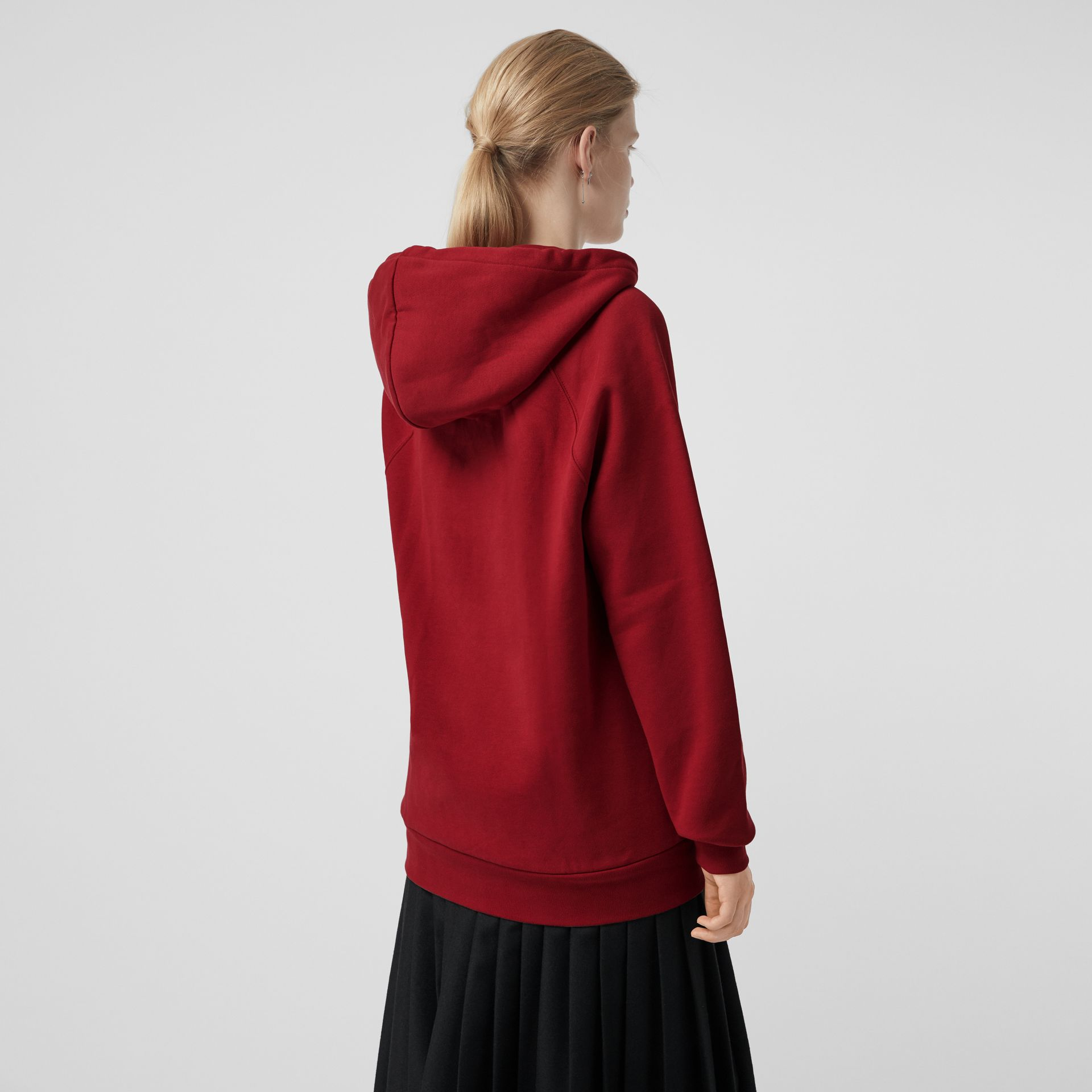 Embroidered Hooded Sweatshirt in Parade Red - Women | Burberry Hong Kong - gallery image 2