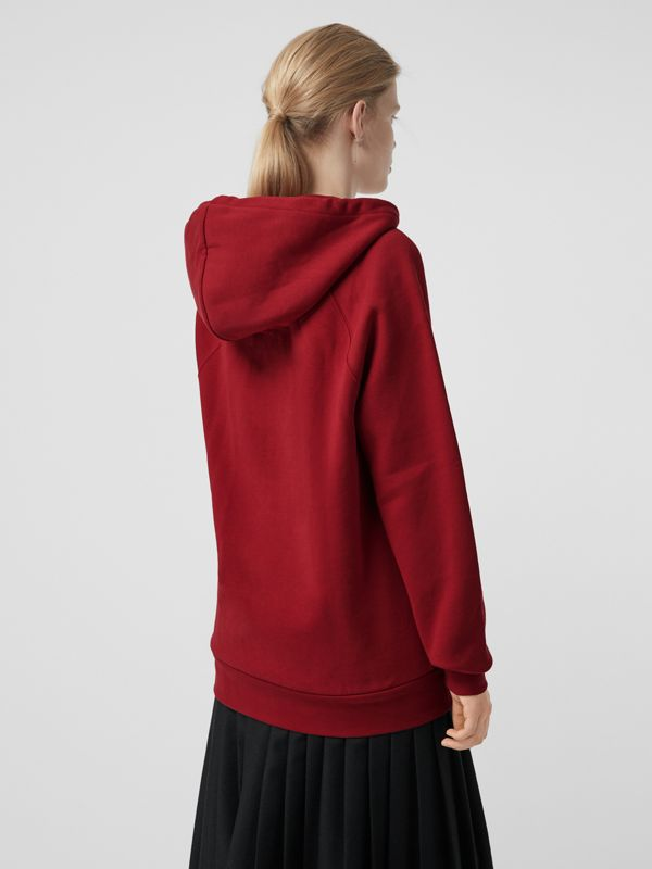 Embroidered Hooded Sweatshirt in Parade Red - Women | Burberry United Kingdom - cell image 2