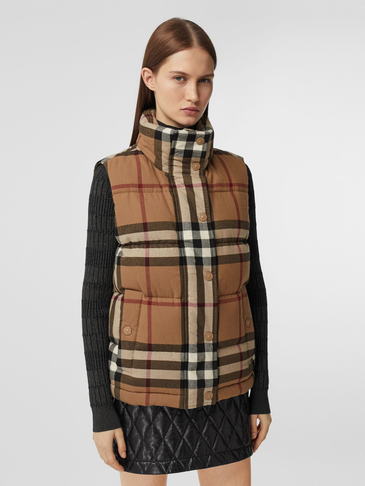 Check Cotton Flannel Puffer Gilet in Birch Brown