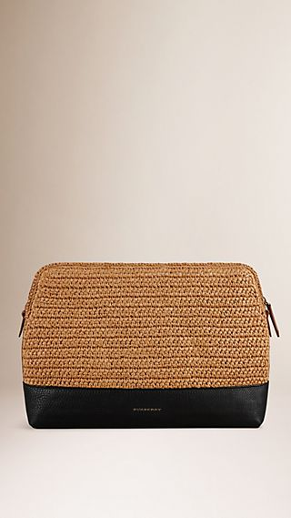 Raffia and Leather Document Case