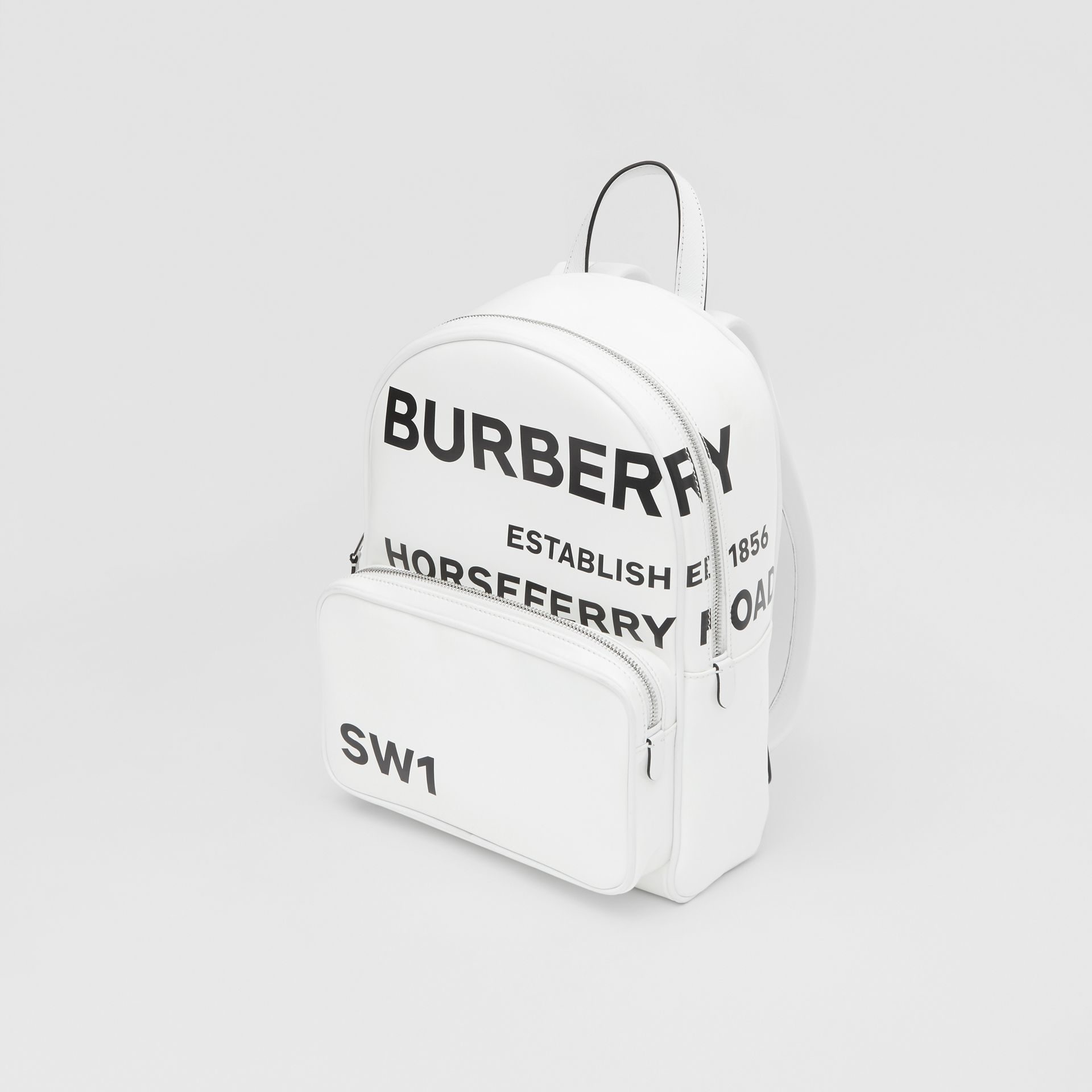 Horseferry Print Coated Canvas Backpack in White | Burberry - gallery image 3