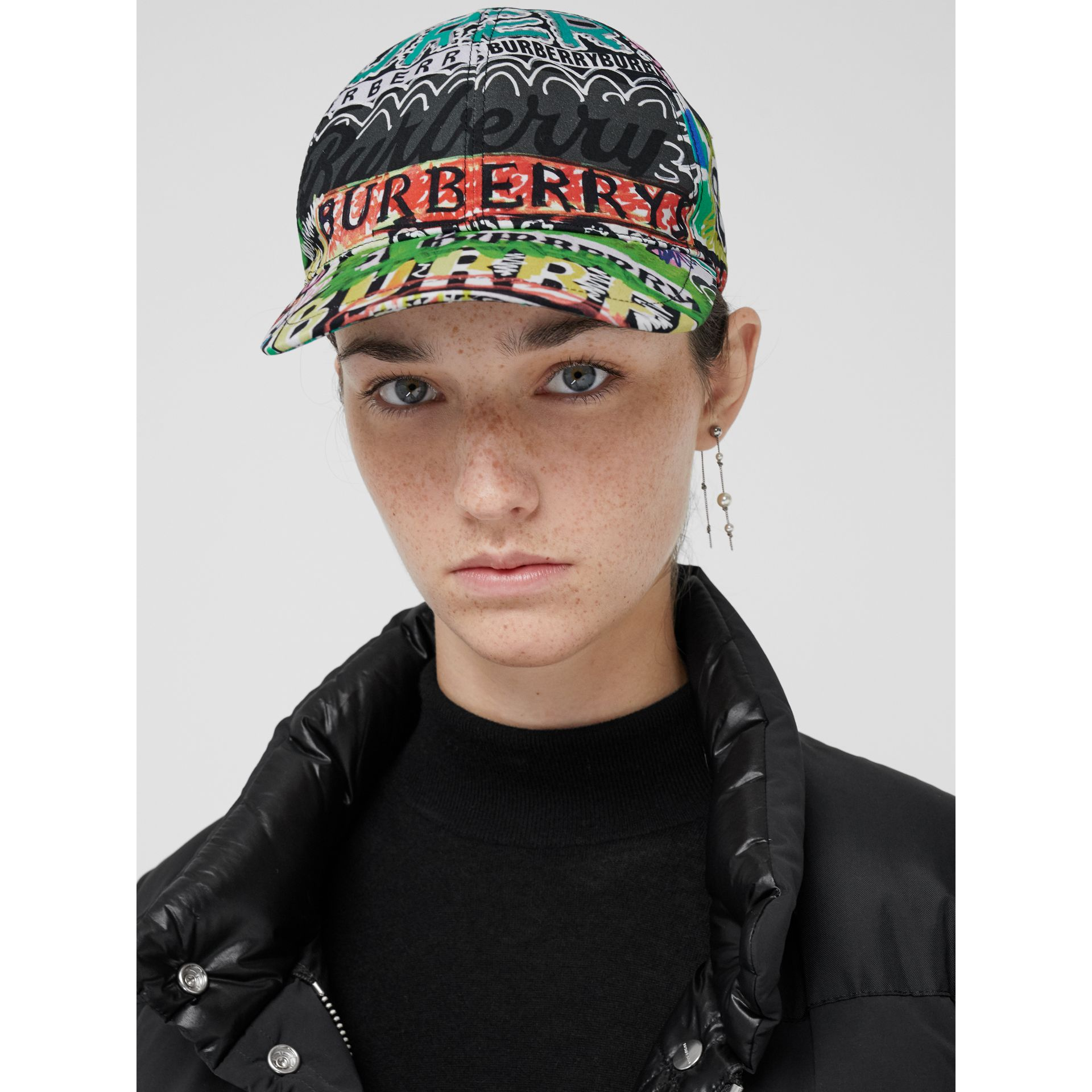 Archive Logo Print Baseball Cap in Multicolour | Burberry - gallery image 2