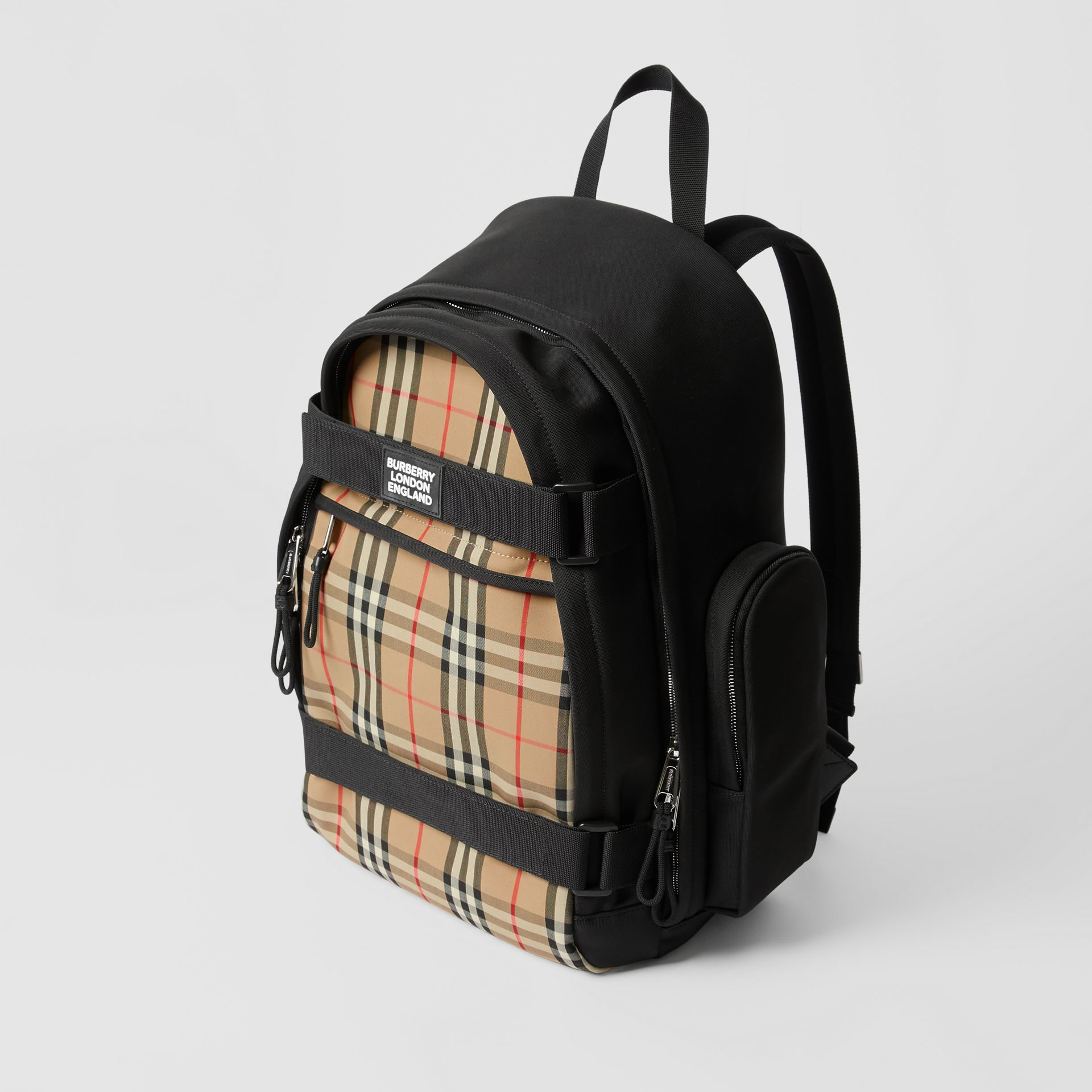 Large Vintage Check Panel Nevis Backpack in Archive Beige | Burberry Canada - gallery image 4