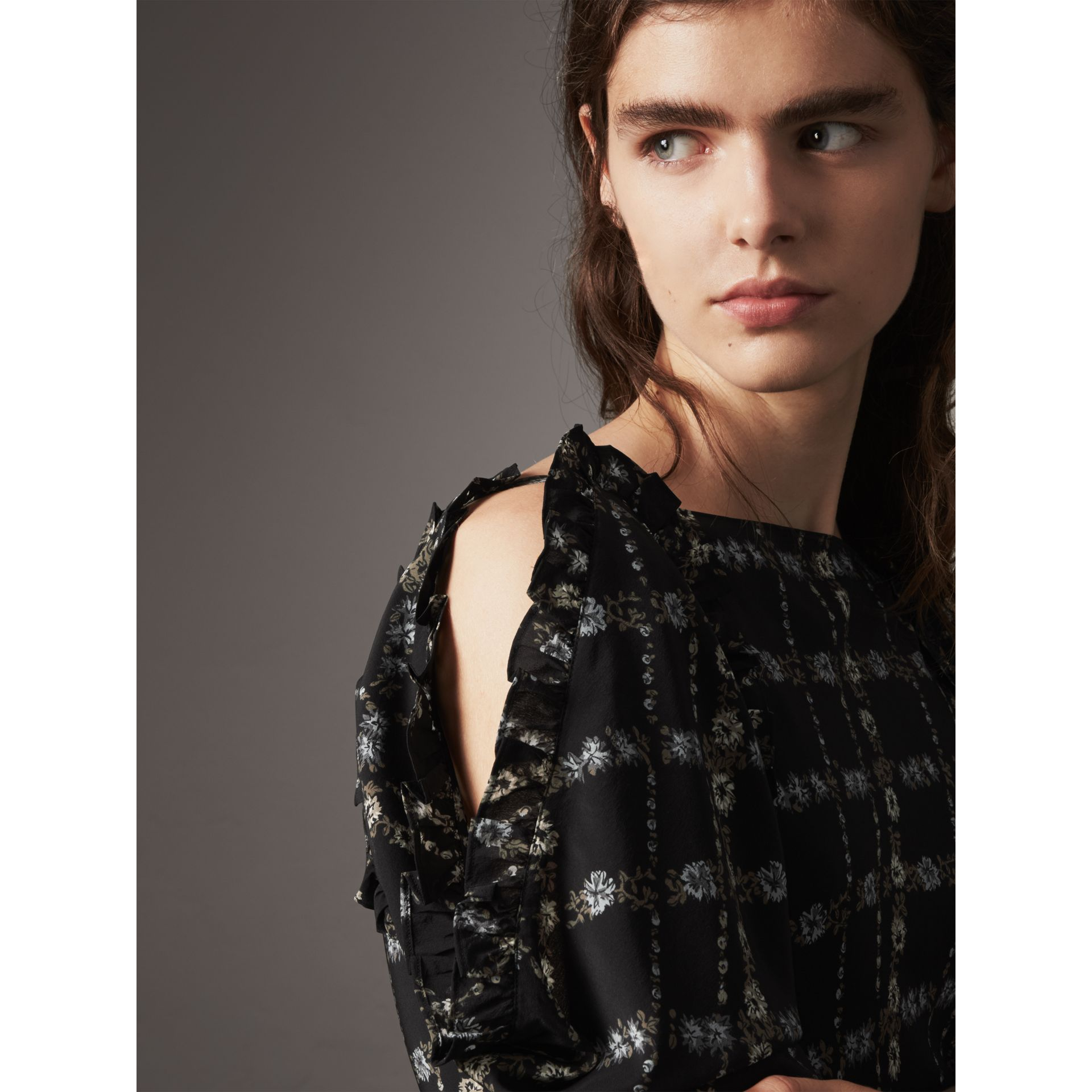 Ruffle Detail Floral Silk Dress in Black - Women | Burberry Canada - gallery image 1