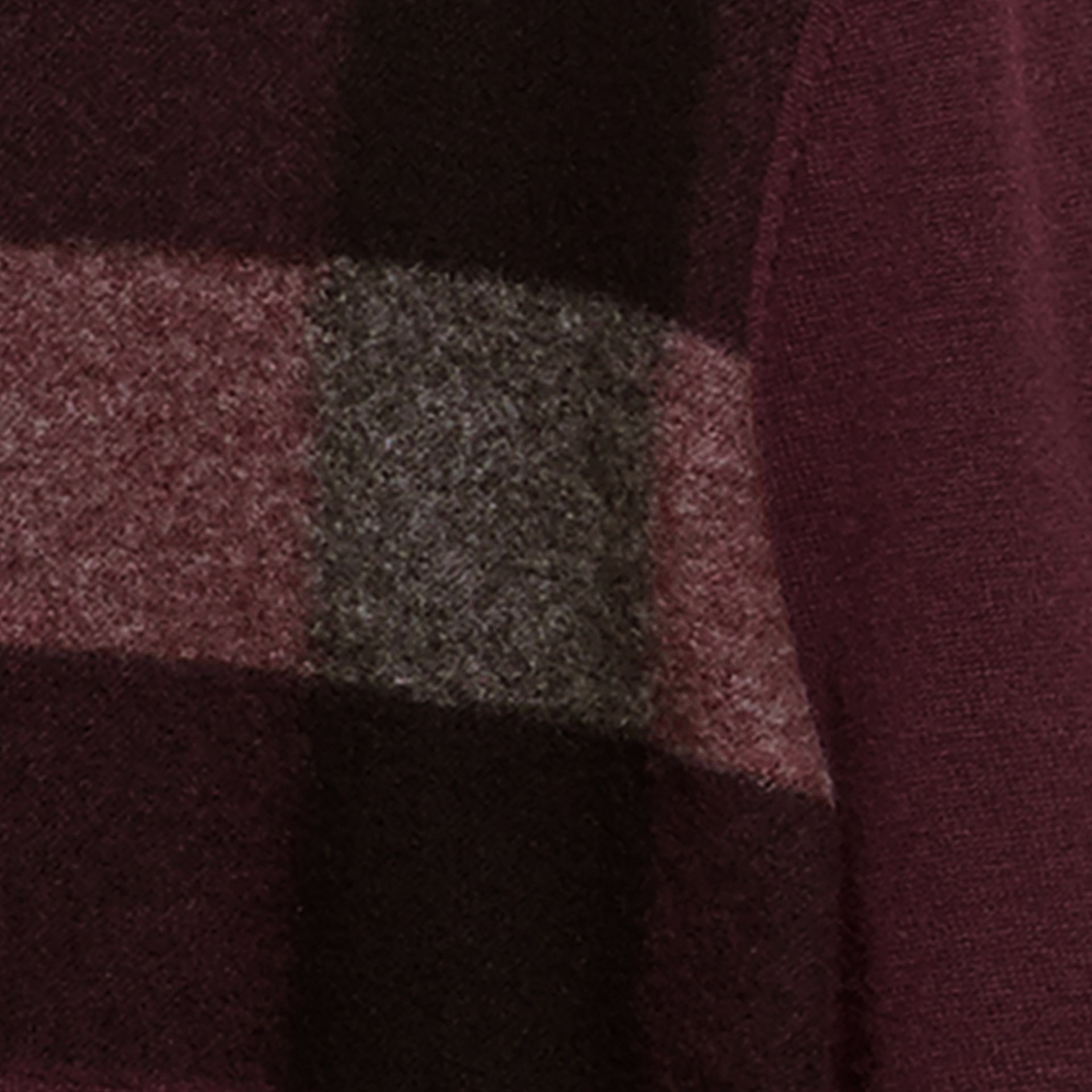Graphic Check Cashmere Cotton Sweater Burgundy Red - gallery image 2