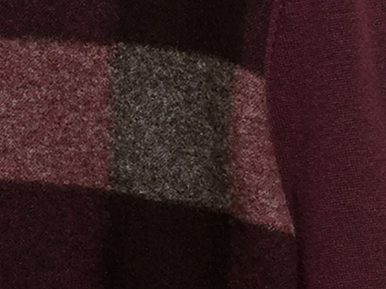 Graphic Check Cashmere Cotton Sweater in Burgundy Red - cell image 1