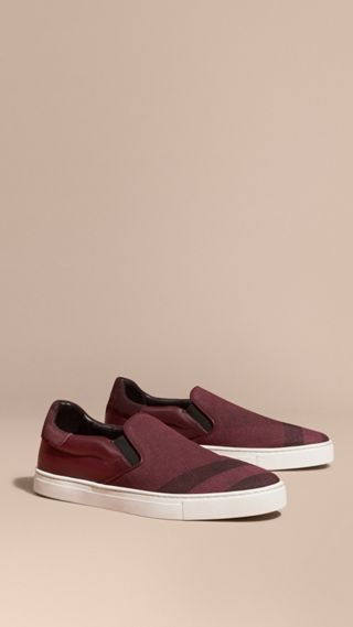 Canvas Check and Leather Slip-on Trainers