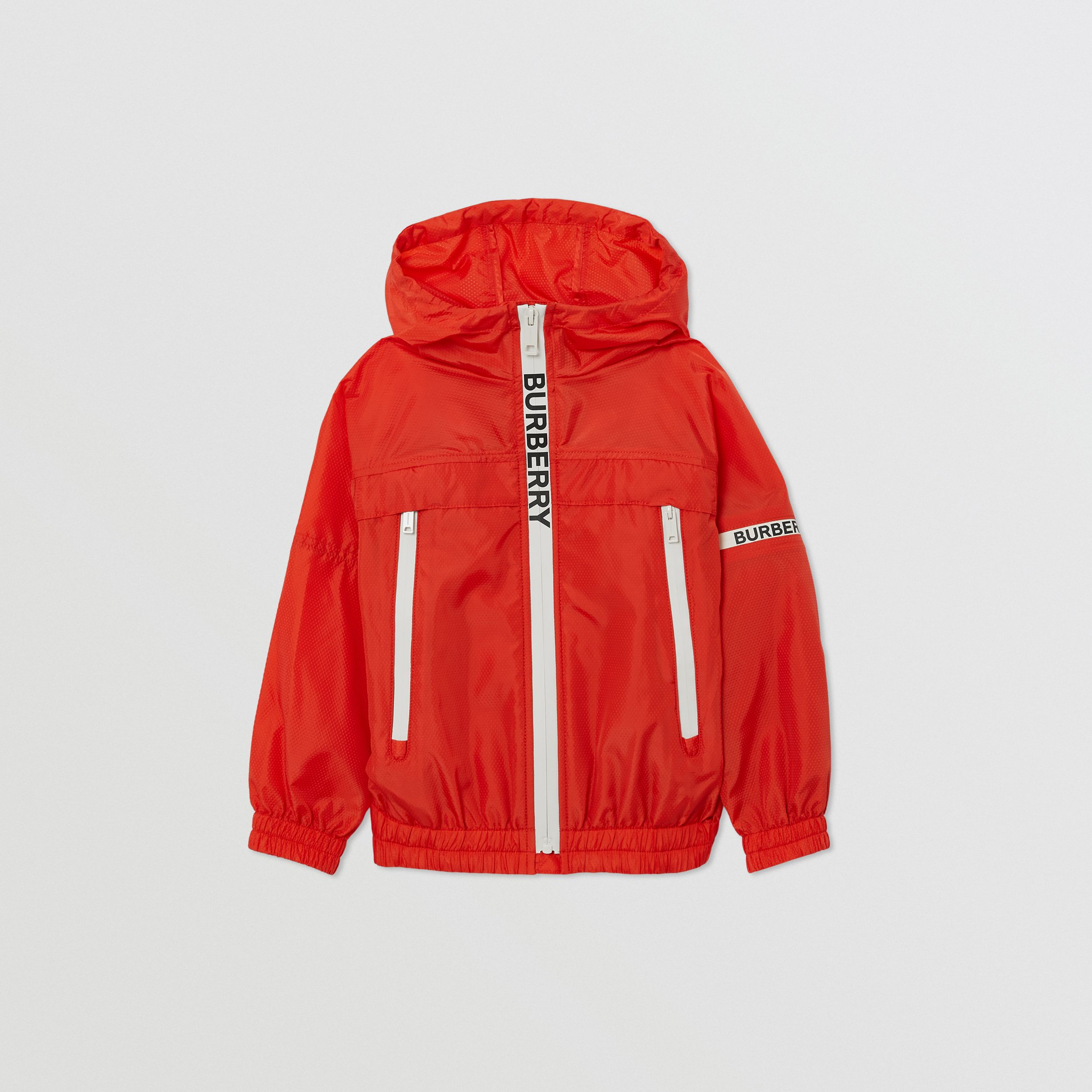 Logo Print Lightweight Hooded Jacket in Orange Red | Burberry - 1