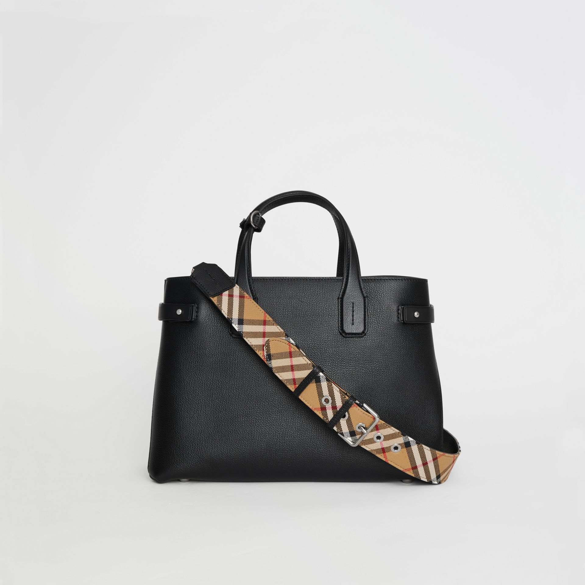 The Medium Banner in Leather and Vintage Check in Black - Women | Burberry United Kingdom - gallery image 7