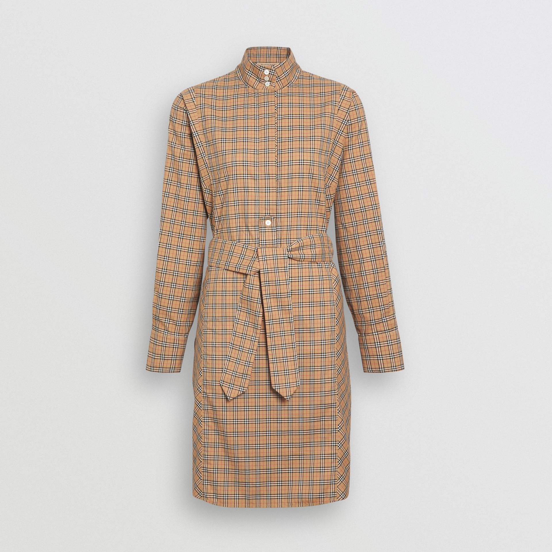 Check Cotton Tie-waist Shirt Dress in Antique Yellow - Women | Burberry Australia - gallery image 3