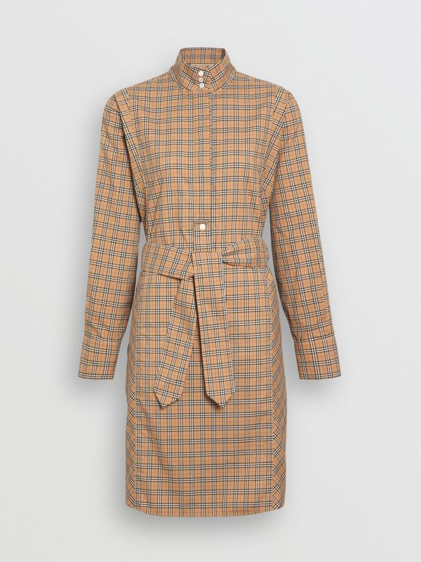 Check Cotton Tie-waist Shirt Dress in Antique Yellow - Women | Burberry Australia - cell image 3