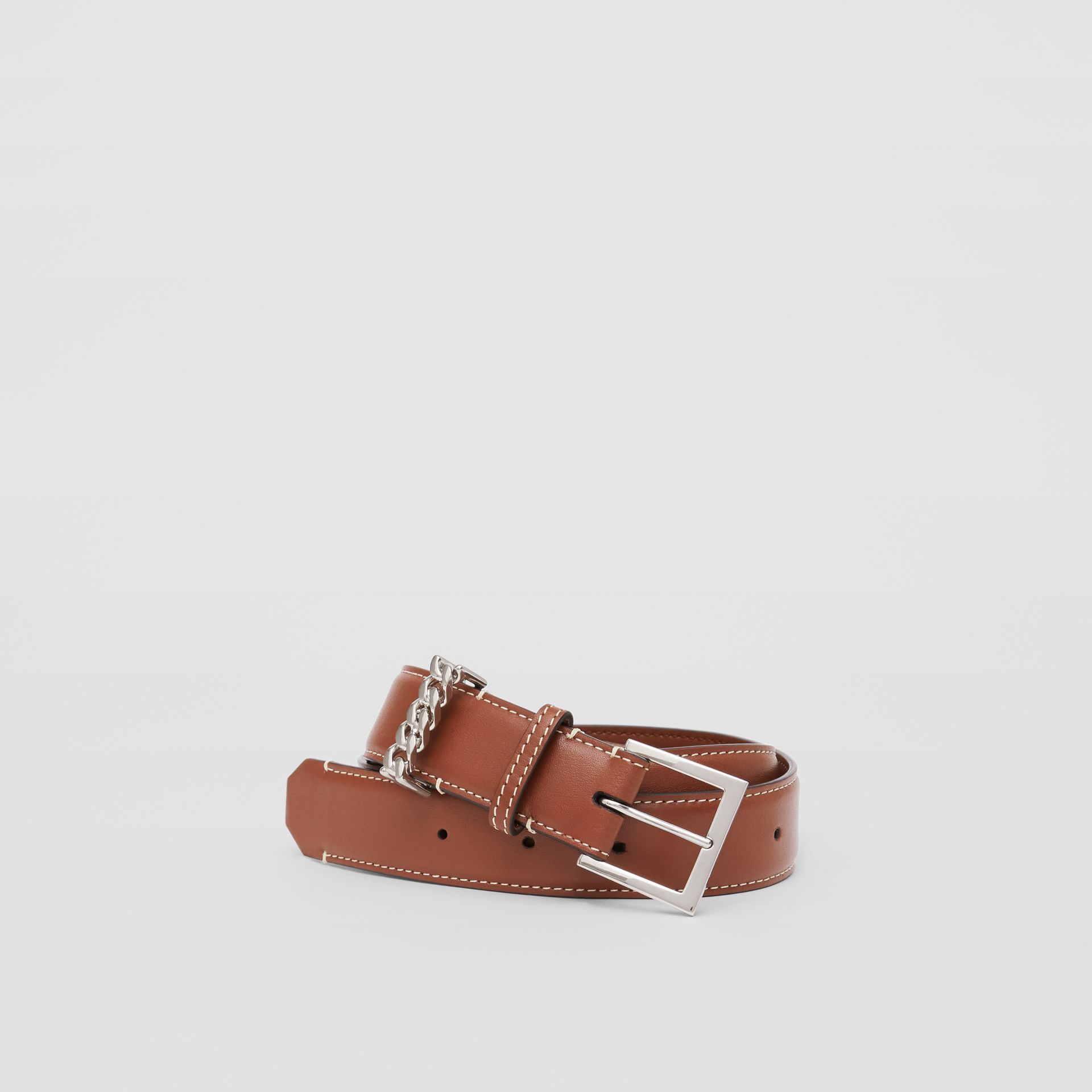 Chain Detail Topstitched Leather Belt in Tan/ecru - Women | Burberry - gallery image 0