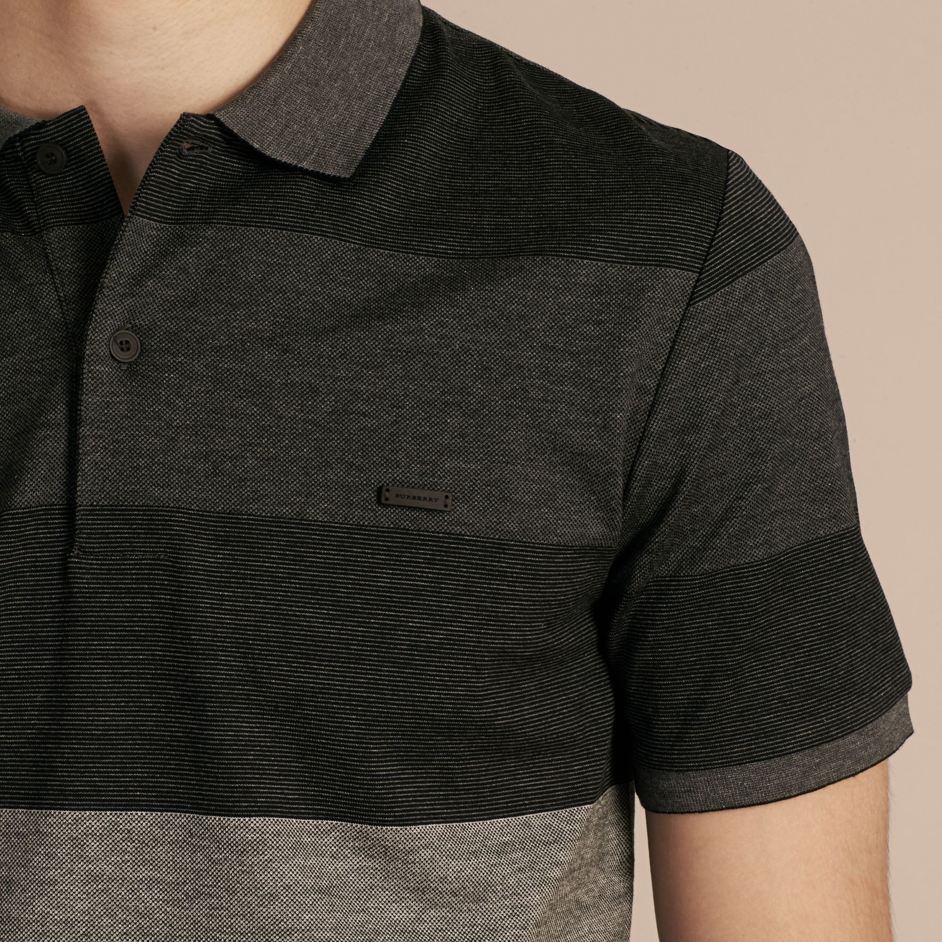 Mid grey melange Striped Stretch Cotton Piqué Polo Shirt Mid Grey Melange - gallery image 5