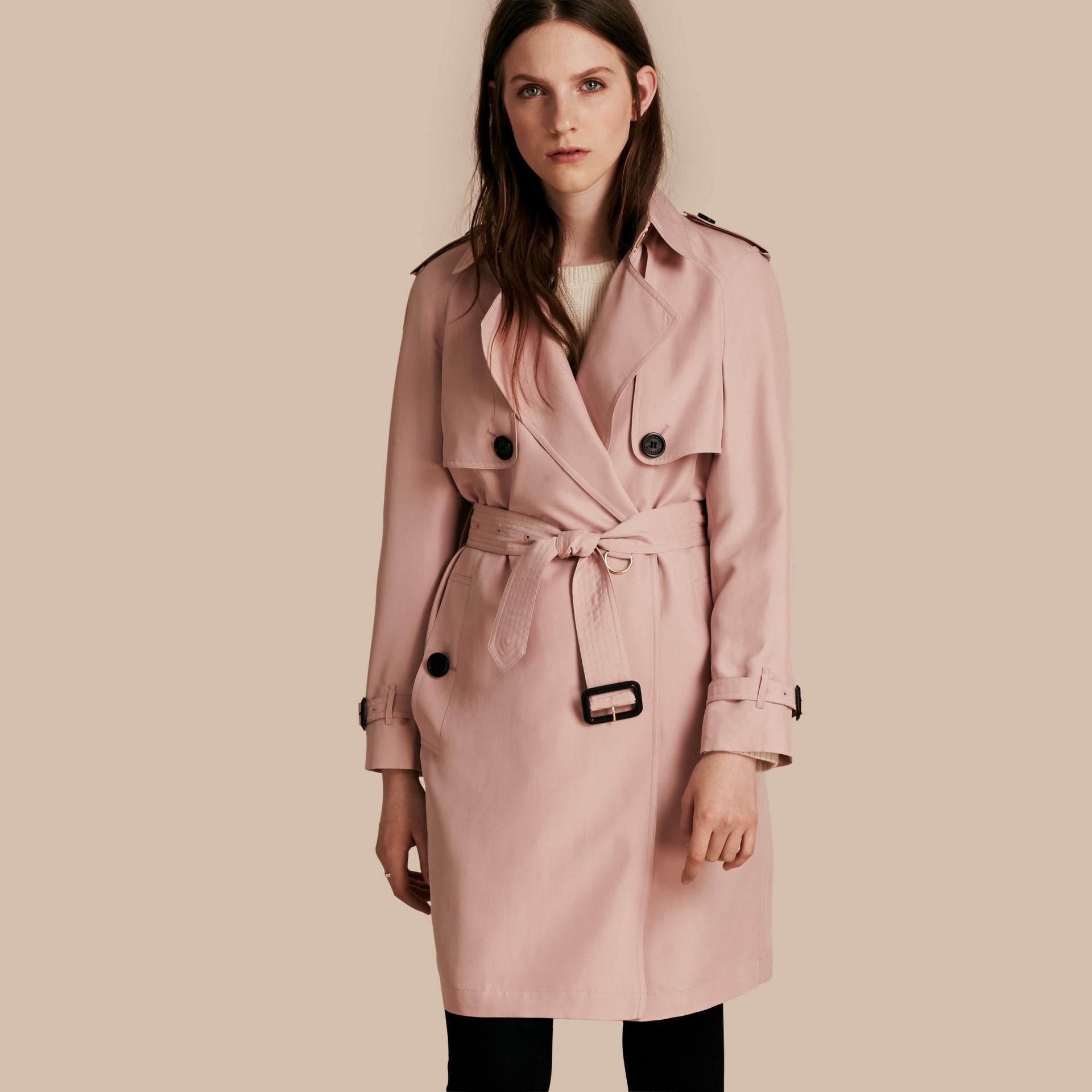 Chalk pink Lightweight Slub Silk Wrap Trench Coat - gallery image 1