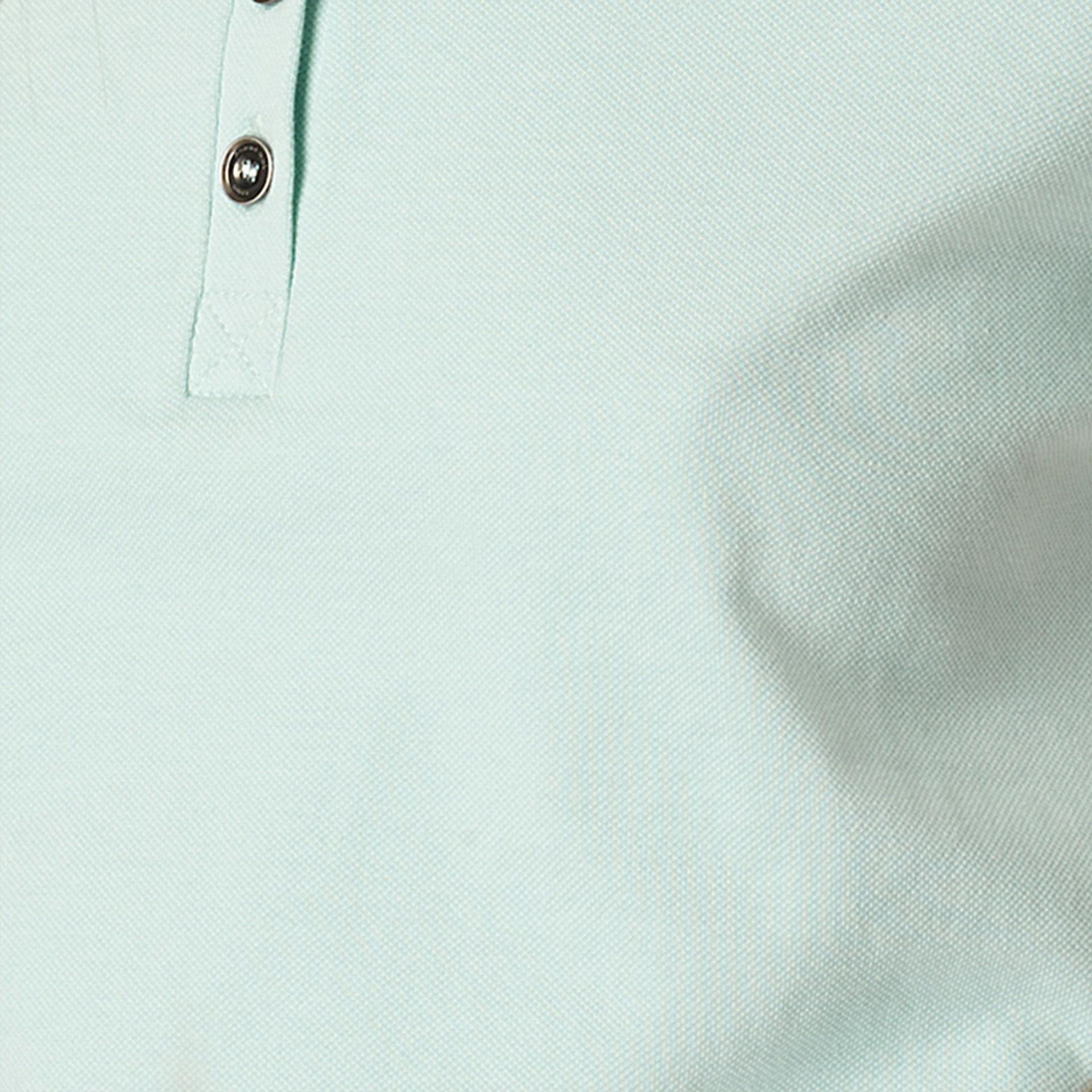 Opale verde chiaro Polo in cotone piqué stretch con finiture check Opale Verde Chiaro - immagine della galleria 2