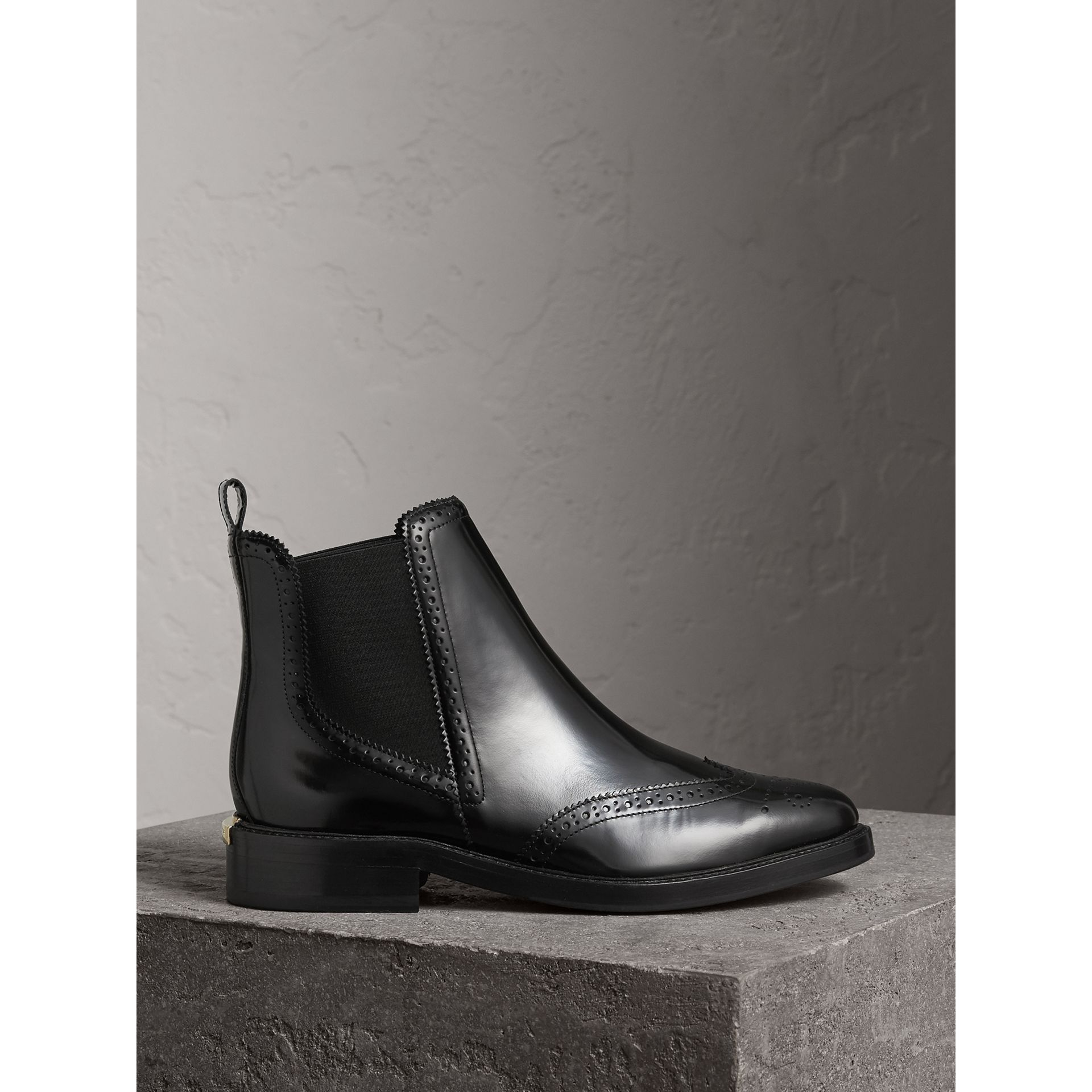 Leather Wingtip Chelsea Boots in Black - Women | Burberry - gallery image 0