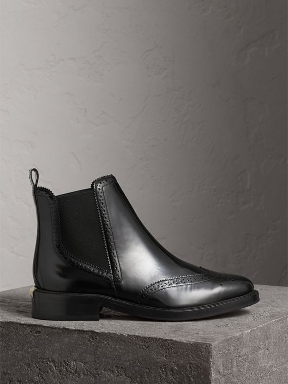 Leather Wingtip Chelsea Boots in Black